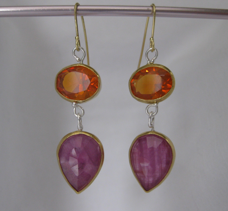 Mexican Fire Opal & Rose Cut Pink Sapphire Earrings