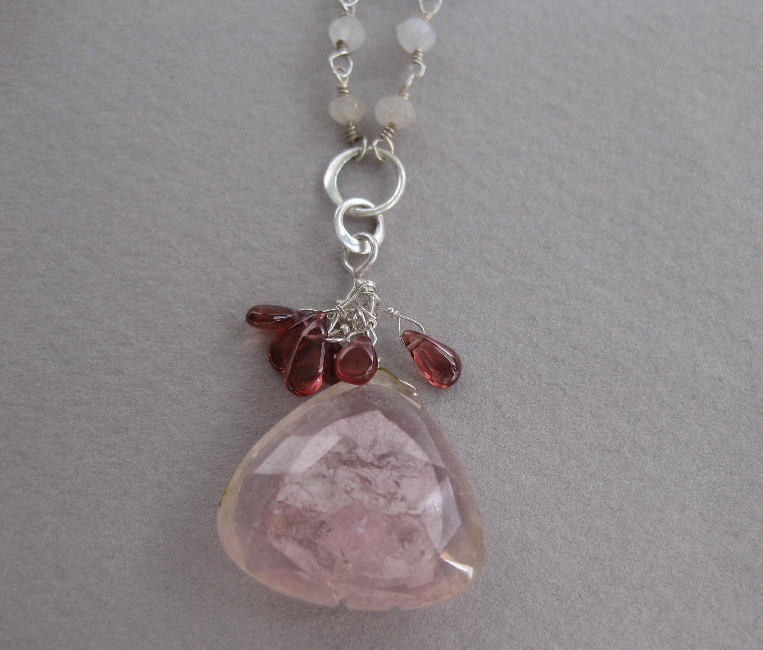Big Pink Tourmaline Garnet & Moonstone Pendant Y Necklace