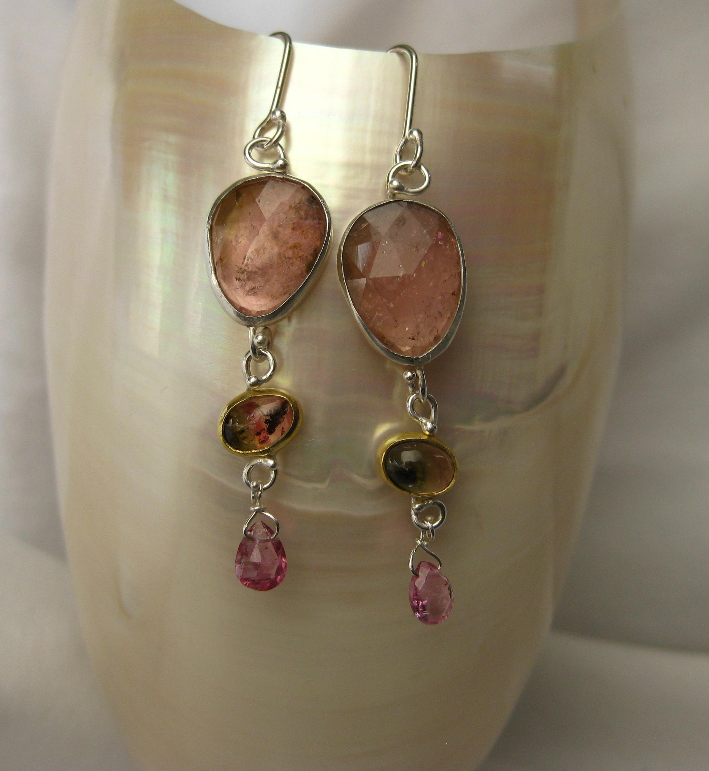Rose Cut Pink Tourmaline & Watermelon Tourmaline Earrings with Deep Pink Briolettes