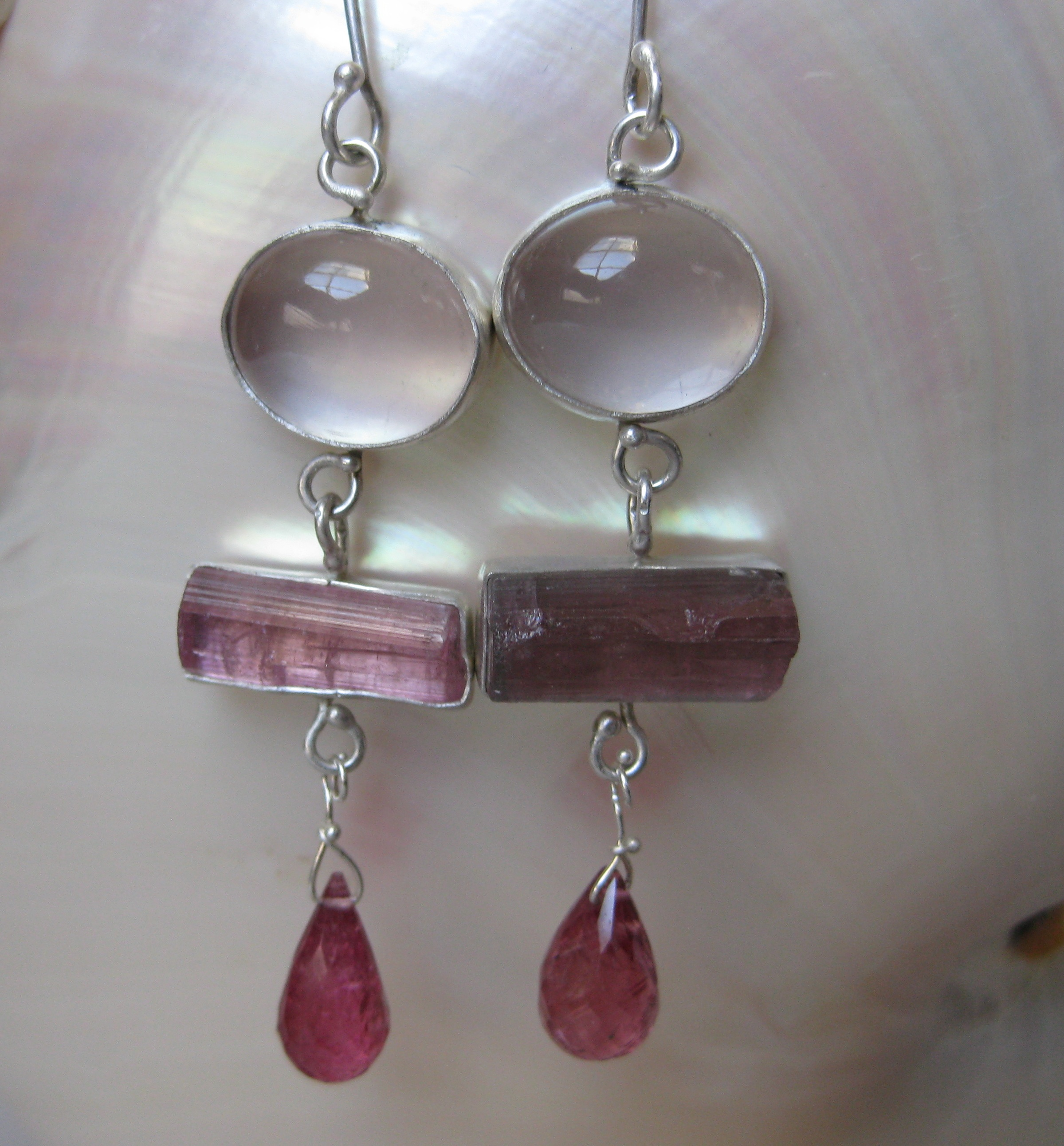Rose Quartz Earrings with Raw Pink Tourmaline Crystals and Pink Tourmaline Briolettes