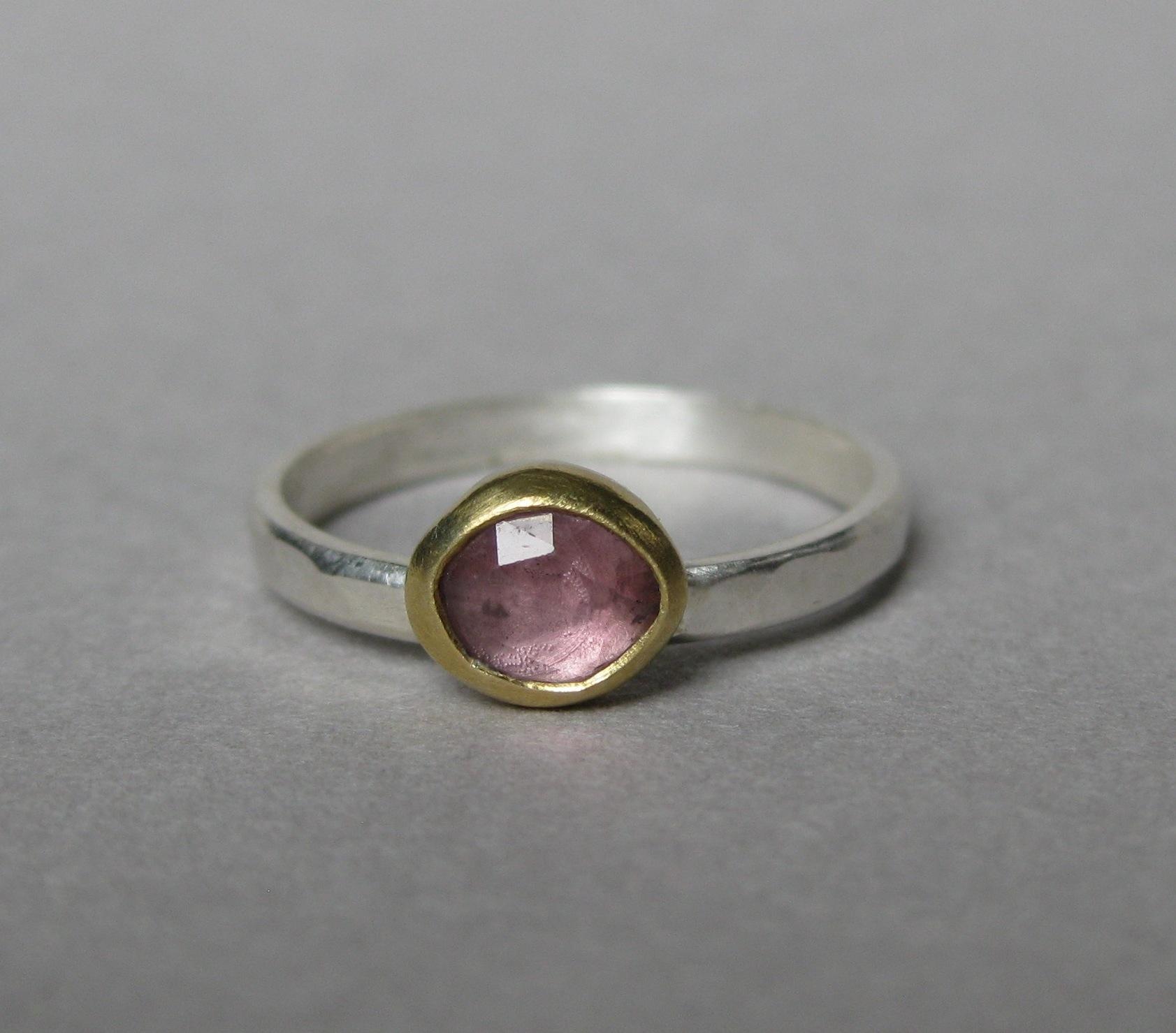 Rose Cut Pink Sapphire Stacking Ring