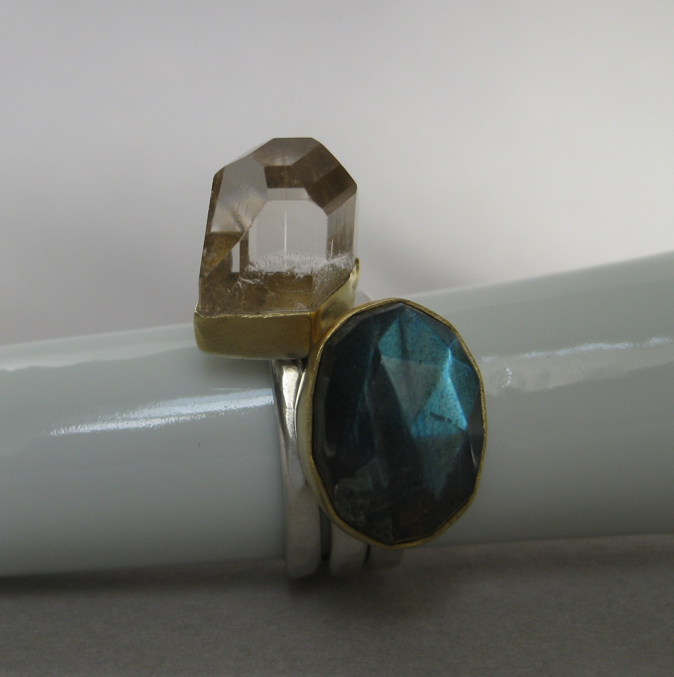 """Raw """"Champagne"""" Topaz Crystal Paired with Rose Cut Labradorite"""