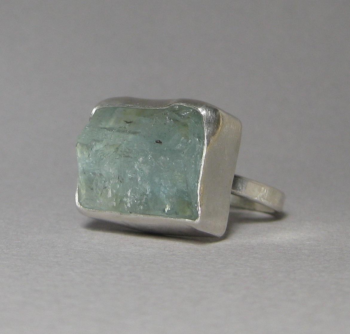 Raw Aquamarine Crystal Ring