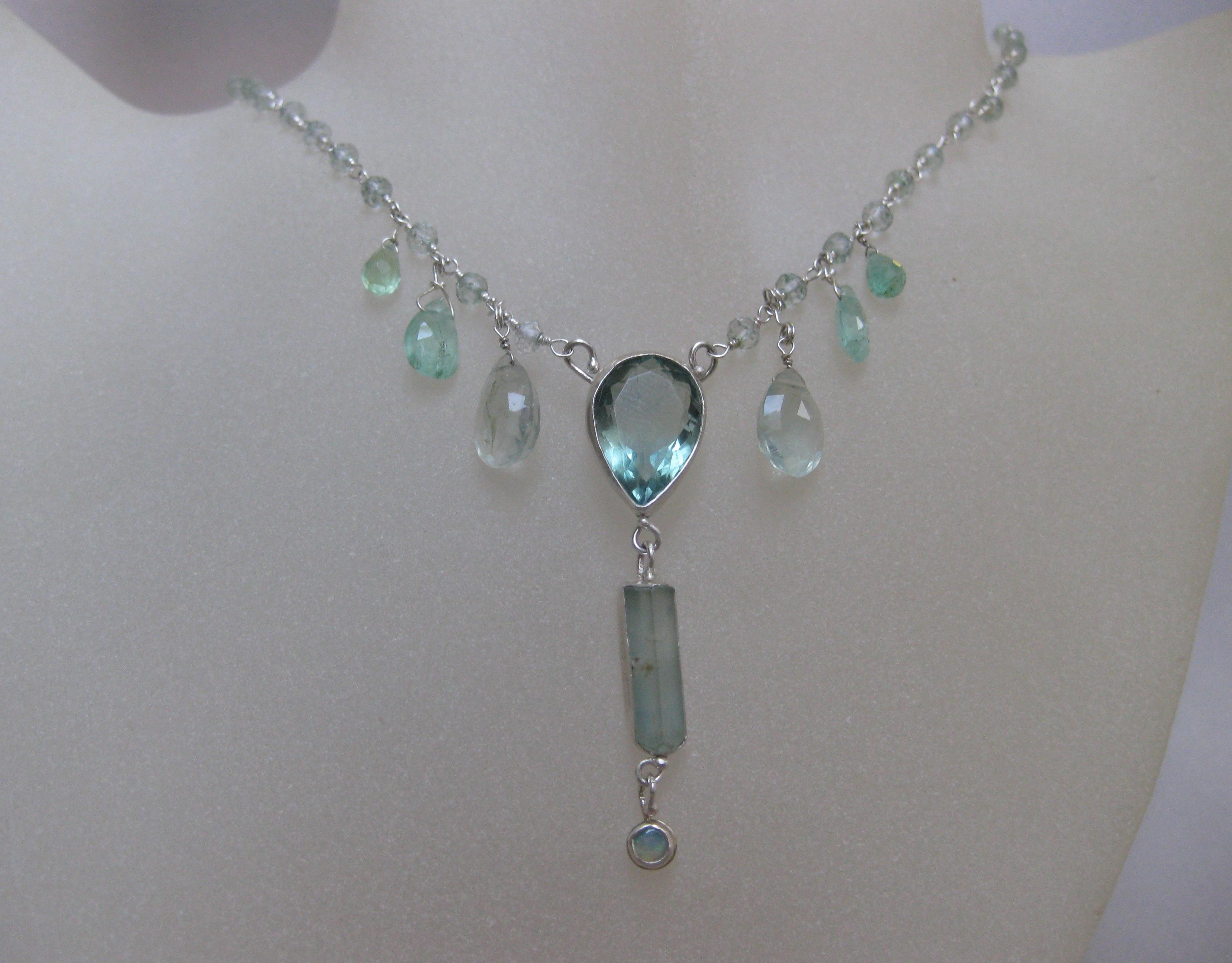 Necklace with Raw Aquamarine Crystal Fluorite & Emerald Briolettes Pear Fluorite  Australian Opal on Green Amethyst (Priasolite) & Silver Chain