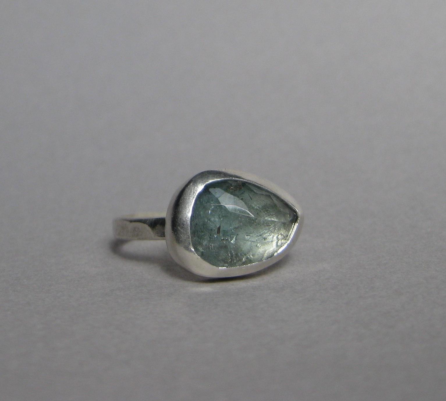 Rose Cut Moss Aquamarine Ring