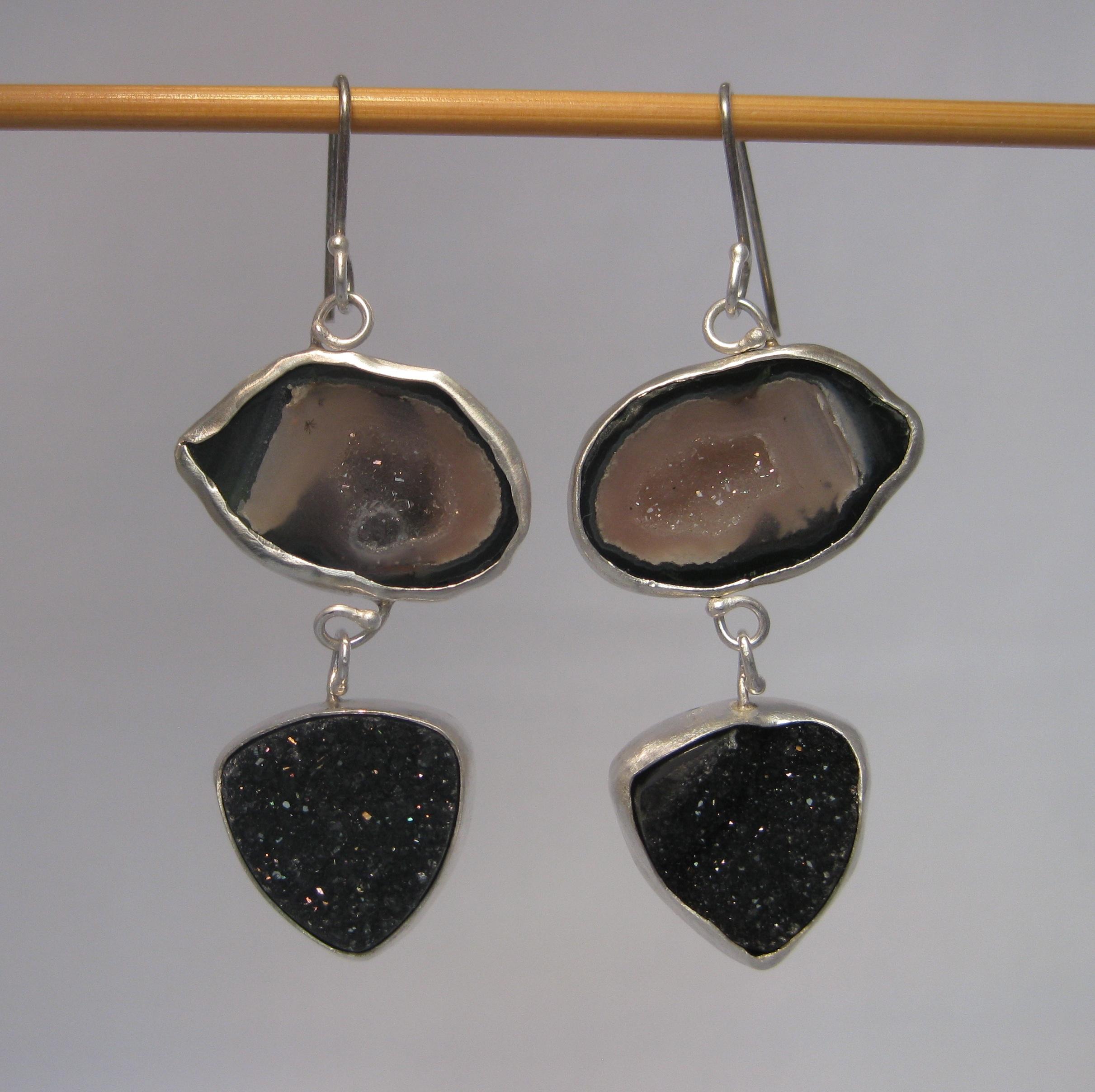 Black & Pink Baby Geode Earrings with Black Druzy Drops