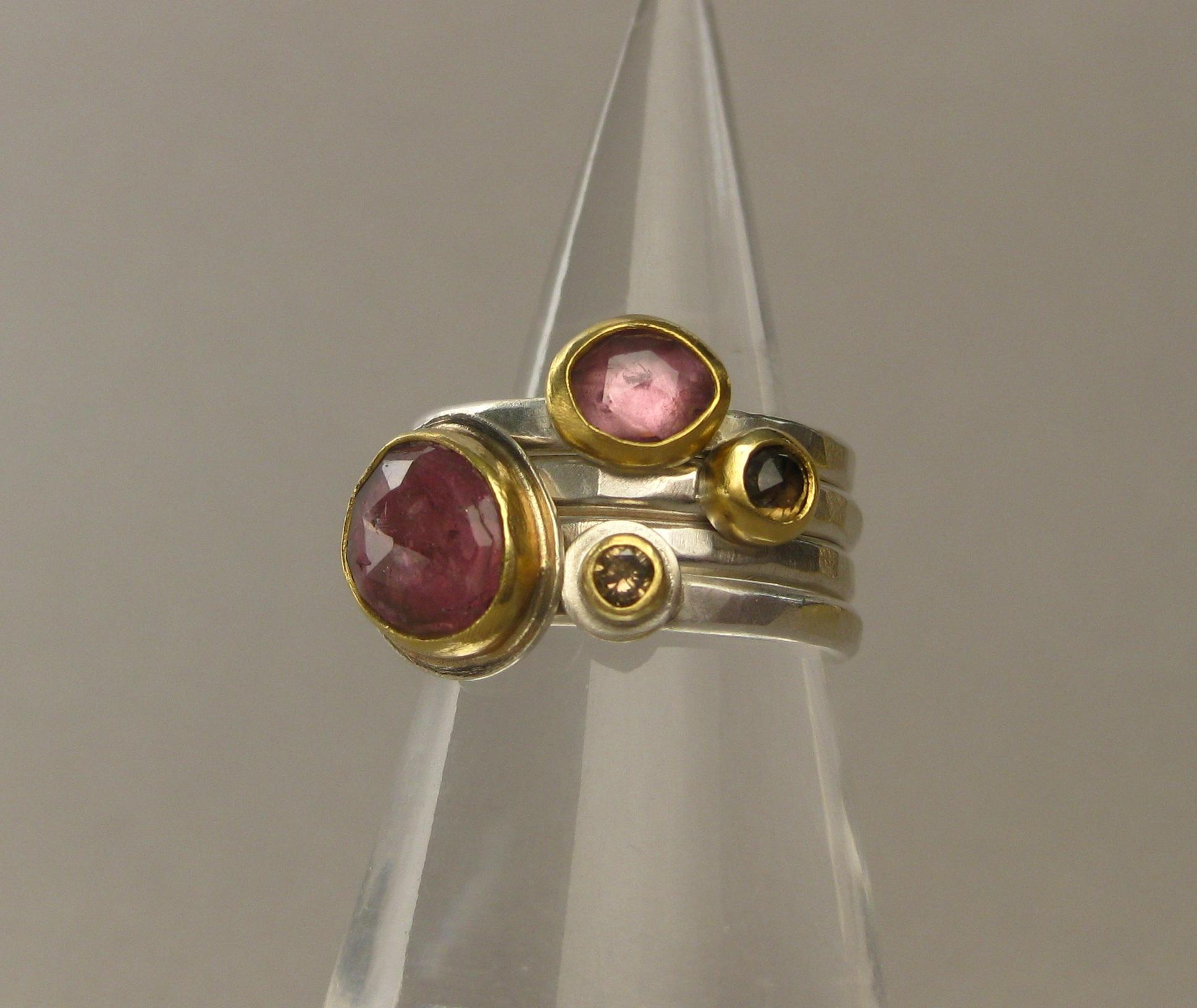 Rose Cut Pink Sapphire, Rose Cut Cognac Diamond, Rose Cut Pink Tourmaline and Champage Diamond Stacking Rings