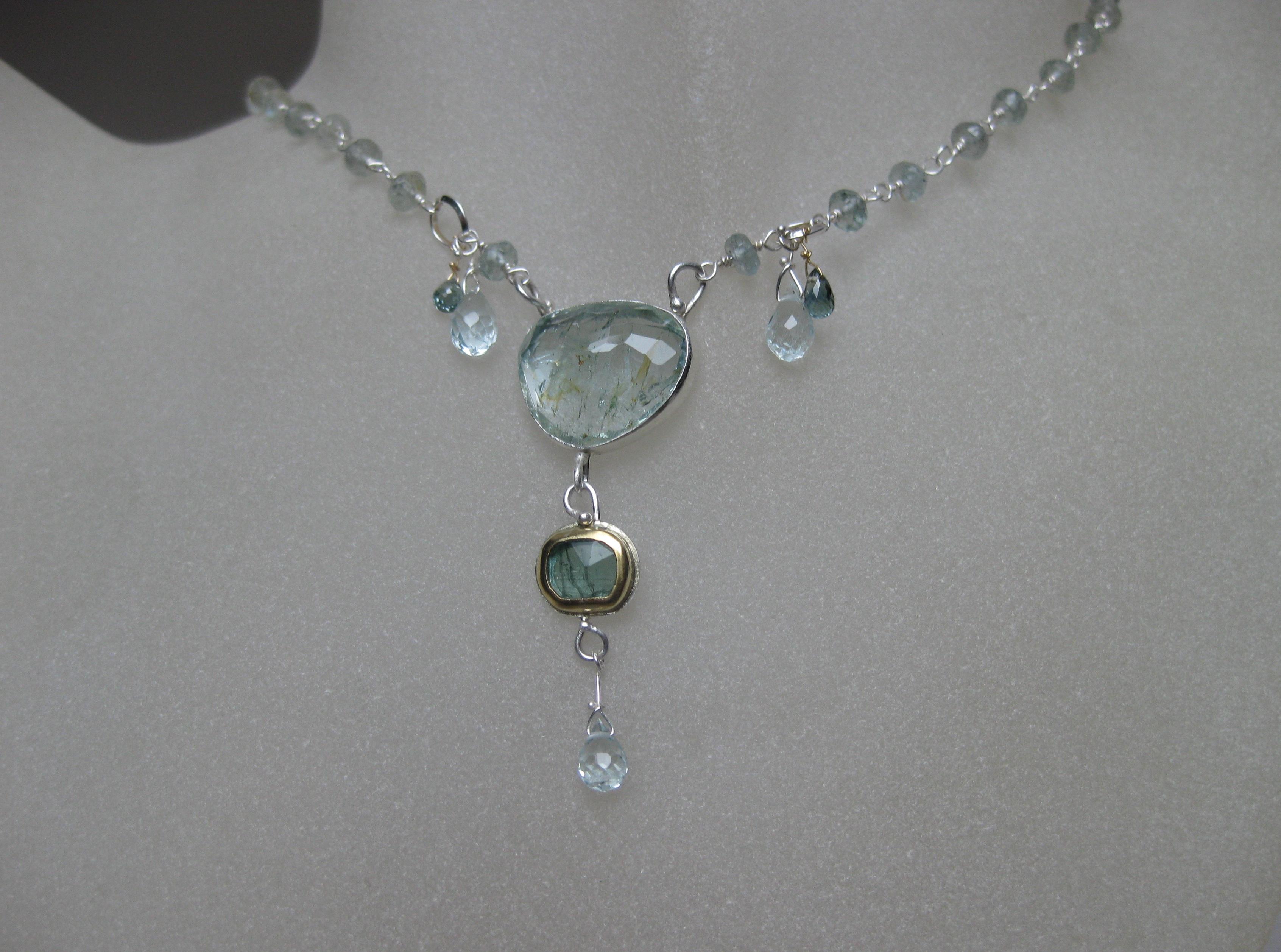 Rose Cut Aquamarine Blue Tourmaline Necklace with Sapphire Briolettes
