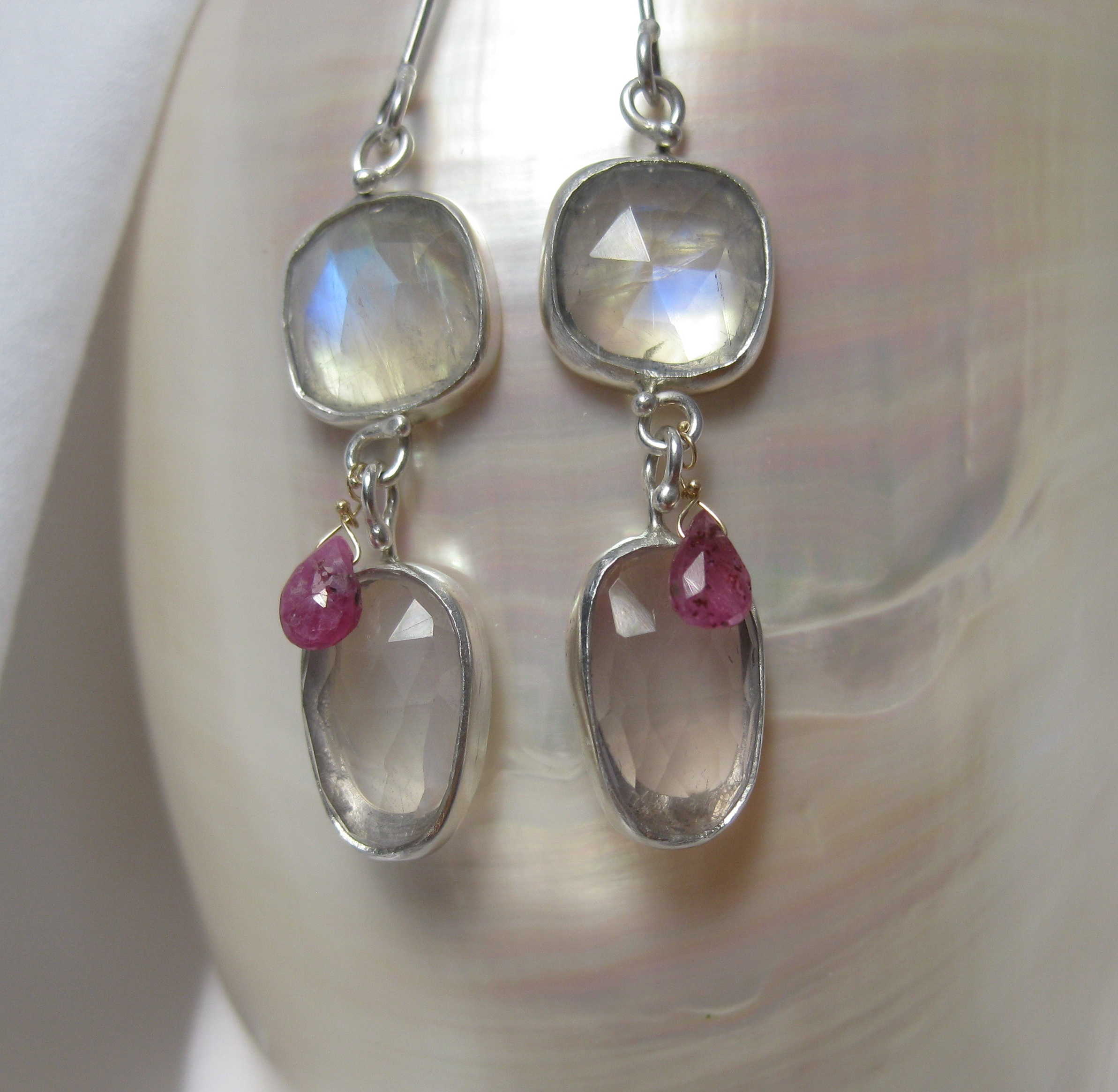 Rose Cut Moonstone and Rose Cut Pink Quartz Earrings with Pink Sapphire Briolettes