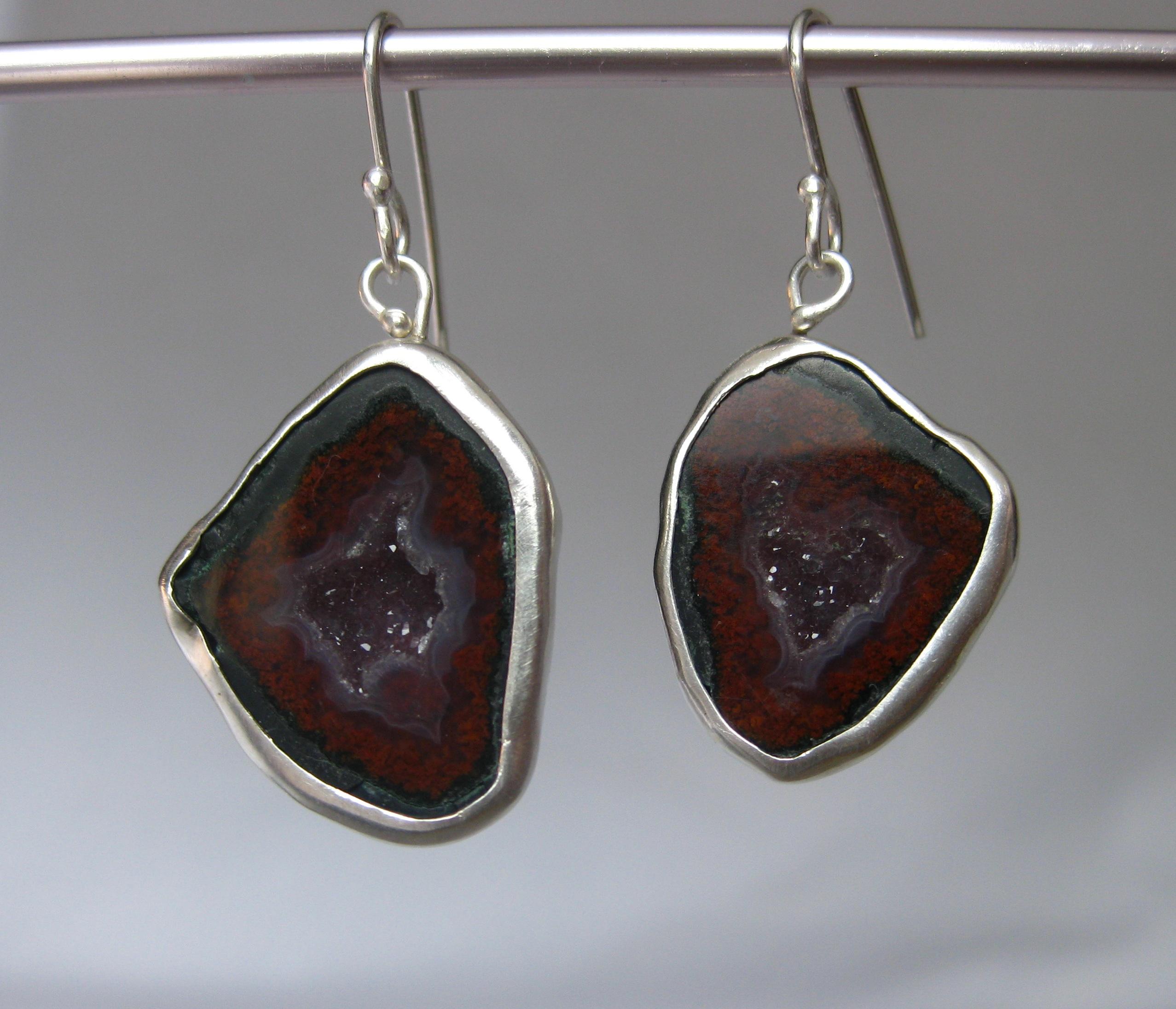 Red Baby Geode Earrings