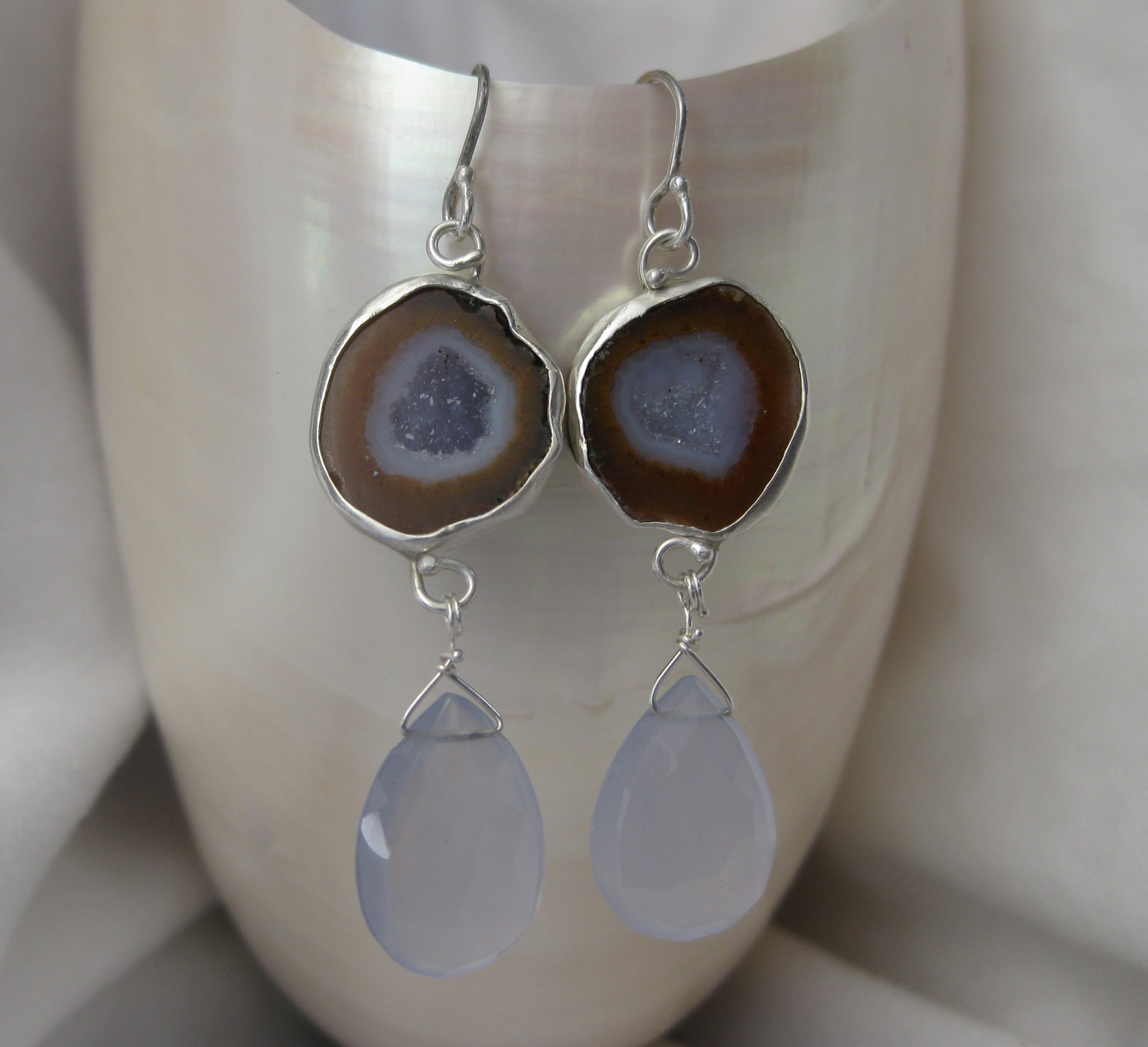 Baby Geode Earrings with Lavender Chalcedony Drops