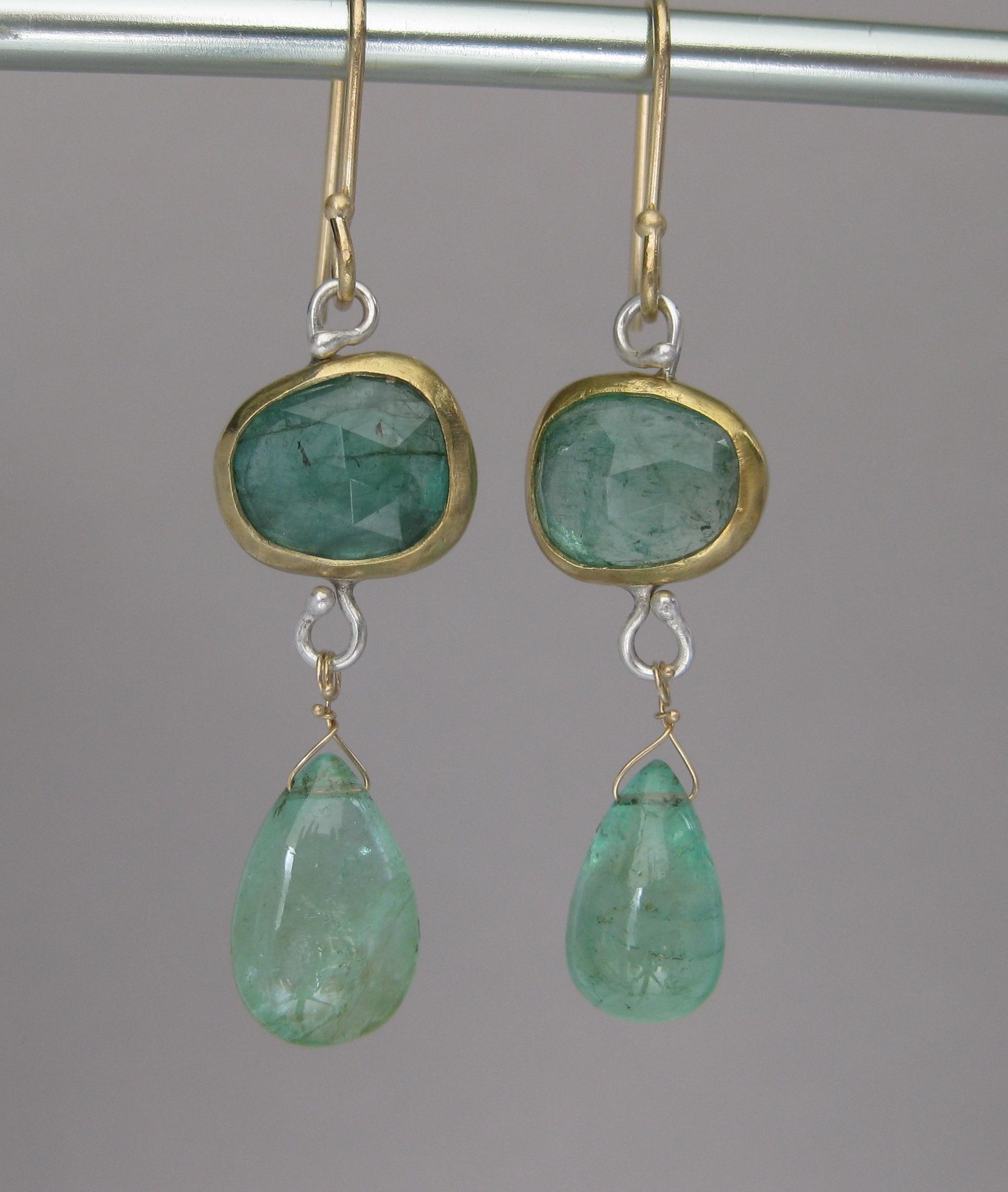 Rose Cut Natural Emerald Drop Earrings