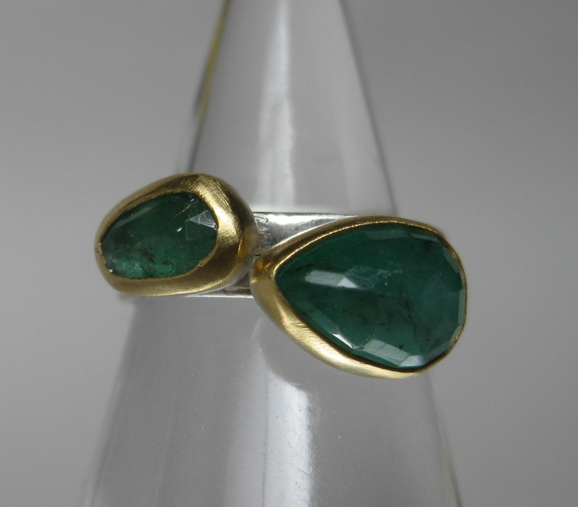 Rose Cut Emerald Ring