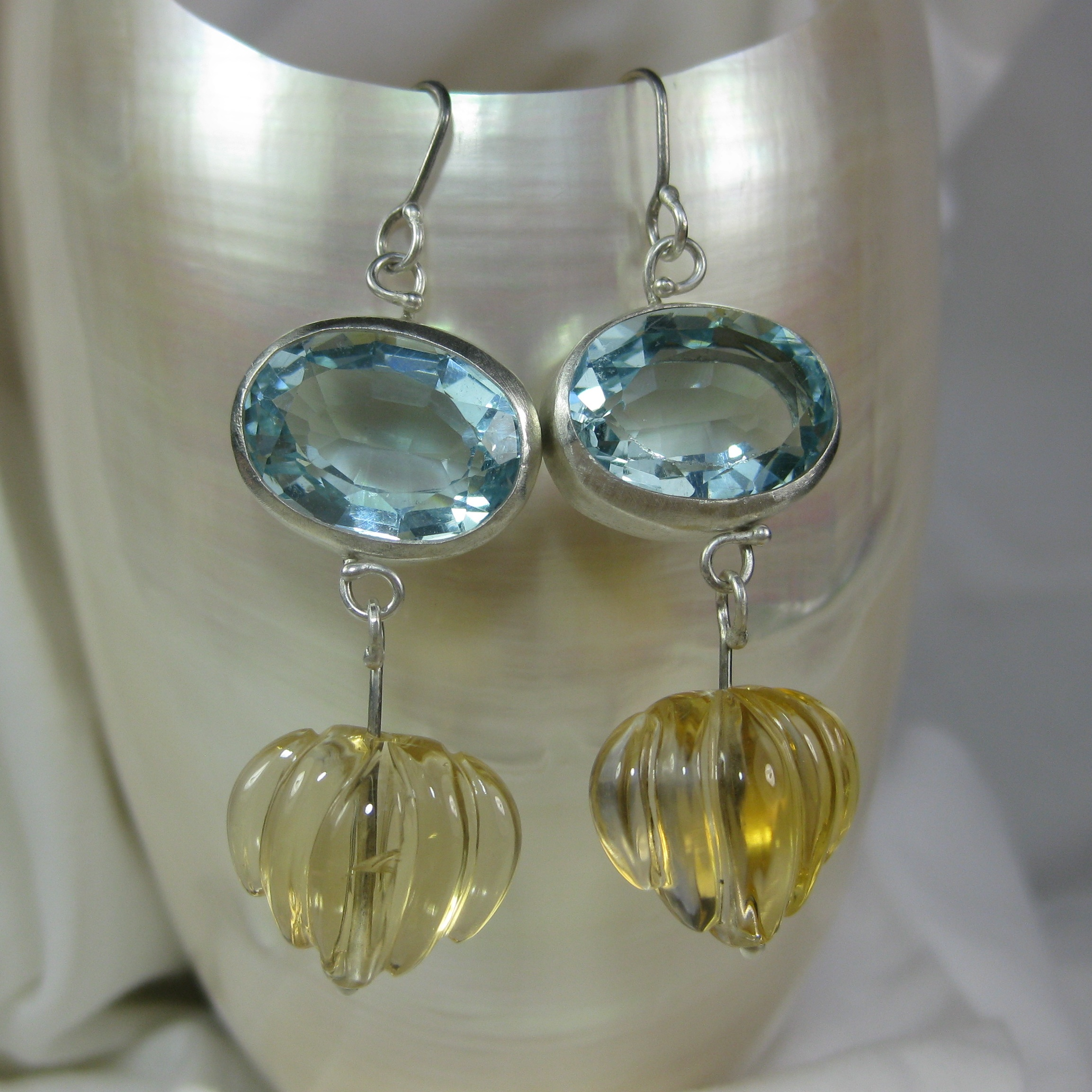 Santa Maria Aquamarine Earrings with Carved Citrines