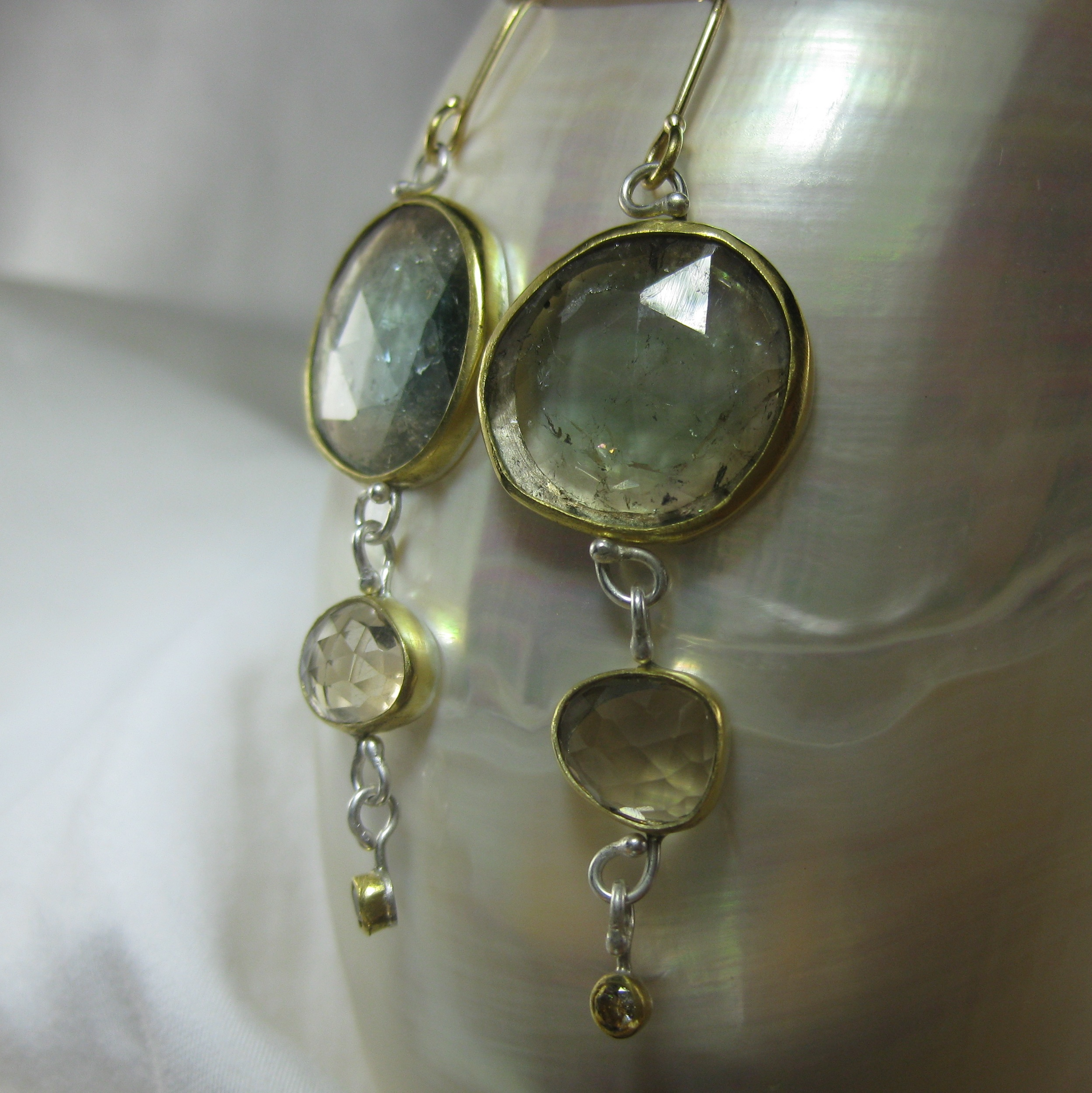 Rose Cut Yellow & Blue Tourmaline Earrings With Champagne Citrines, Champage Diamonds