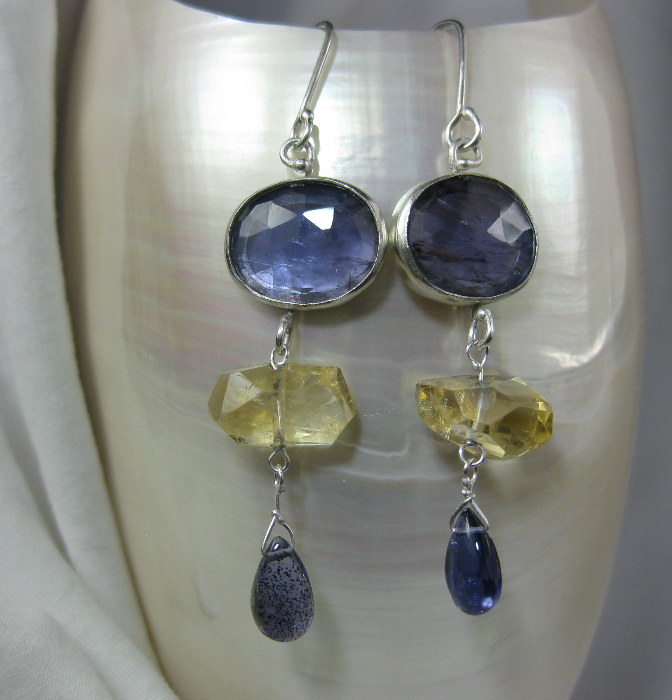 Rose Cut Iolite Earrings with Citrines
