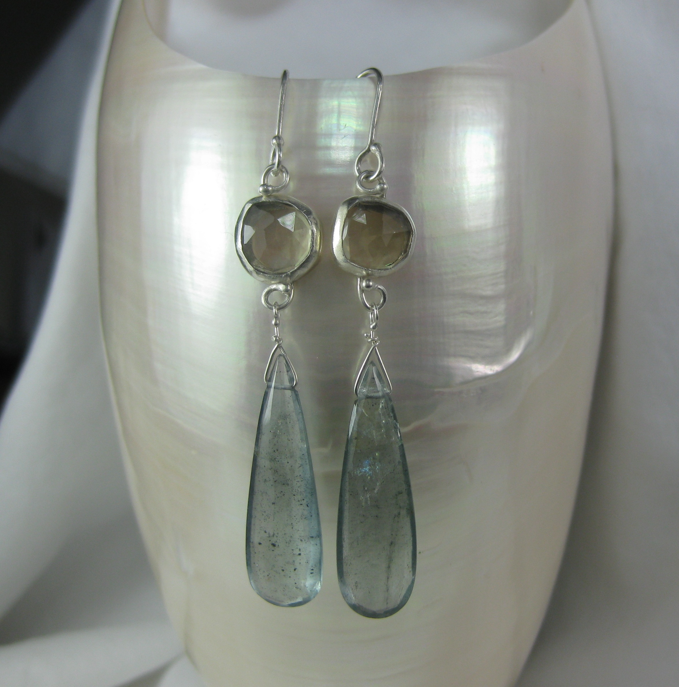 Rose Cut Champagne Citrine Earrings With Moss Aquamarine Drops