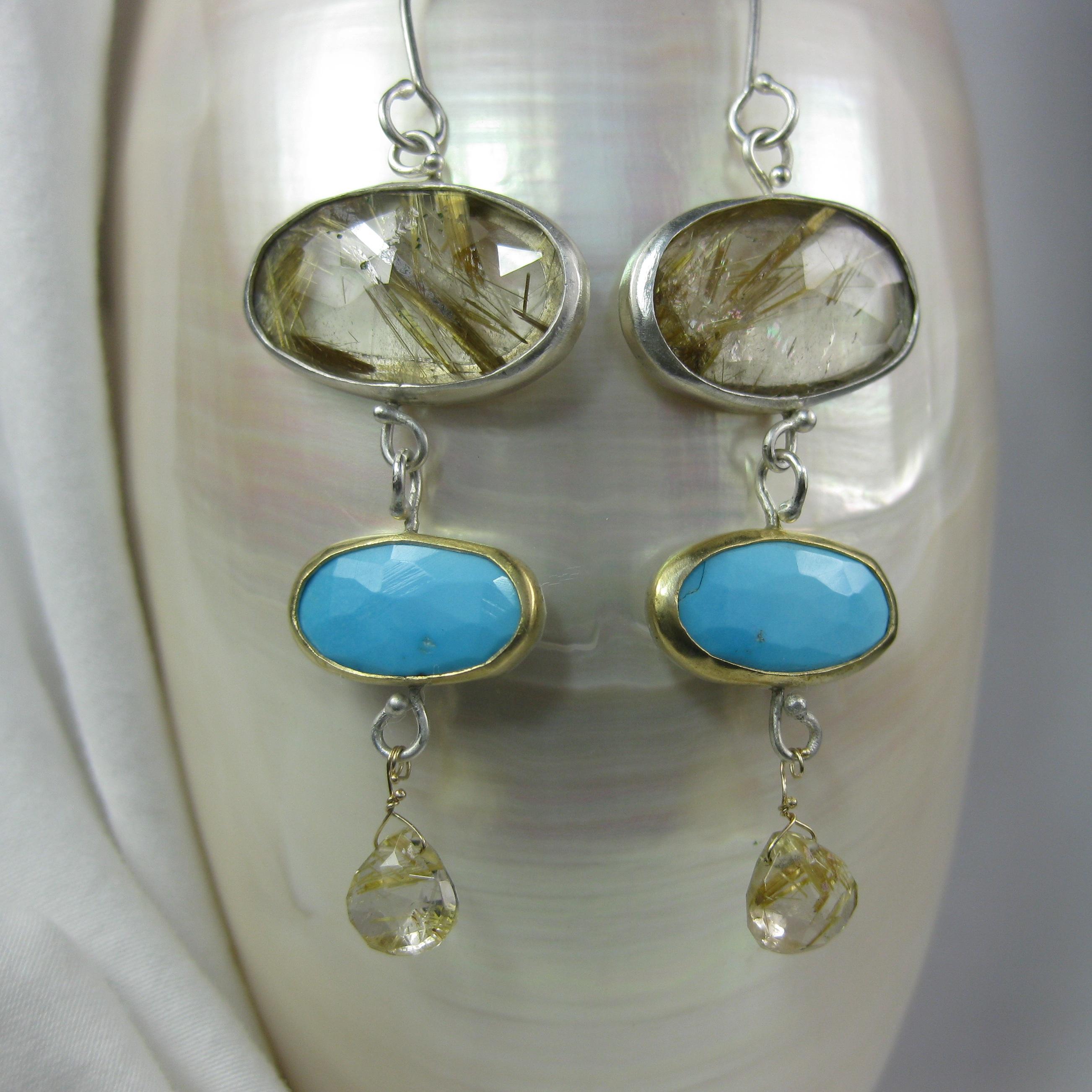 Rose Cut Golden Rutilated Quartz Earrings with Rose Cut Turquoise & Rutile Briolettes