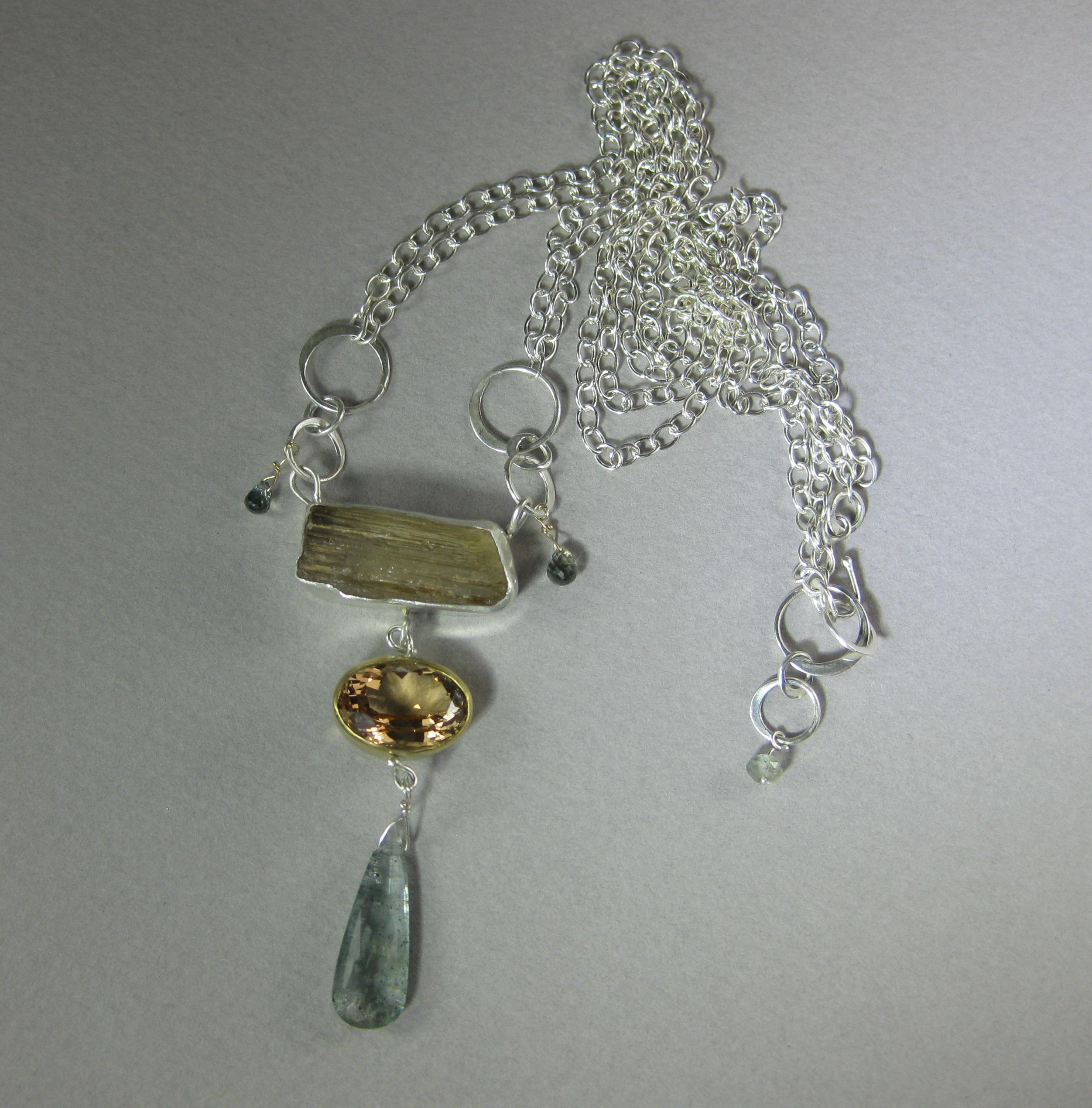 Raw Scapolite Crystal, Yellow Beryl, Moss Aquamarine & Sapphire Talisman Necklace