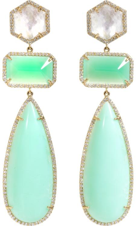 Irene Neuwirth Earrings - Chrysoprase Moonstone & Diamonds