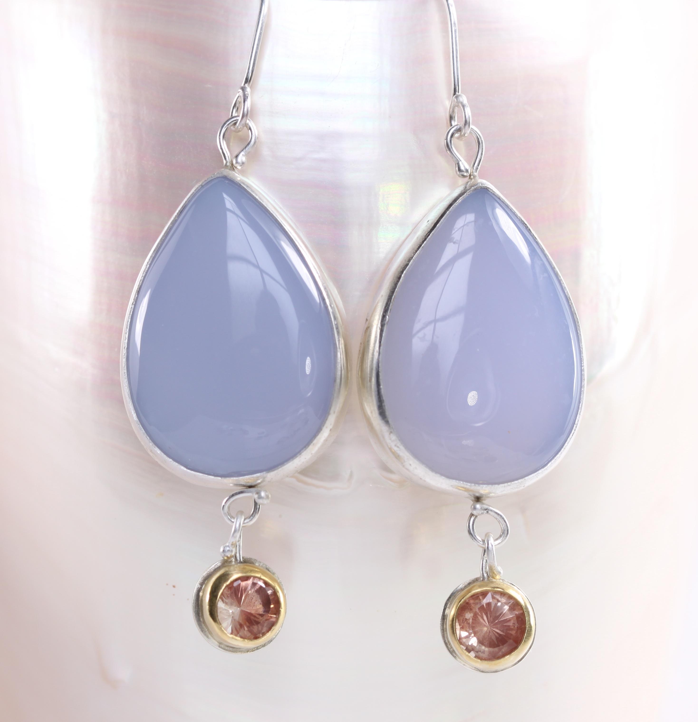 Lavender Chalcedony & Oregon Sunstone Earrings