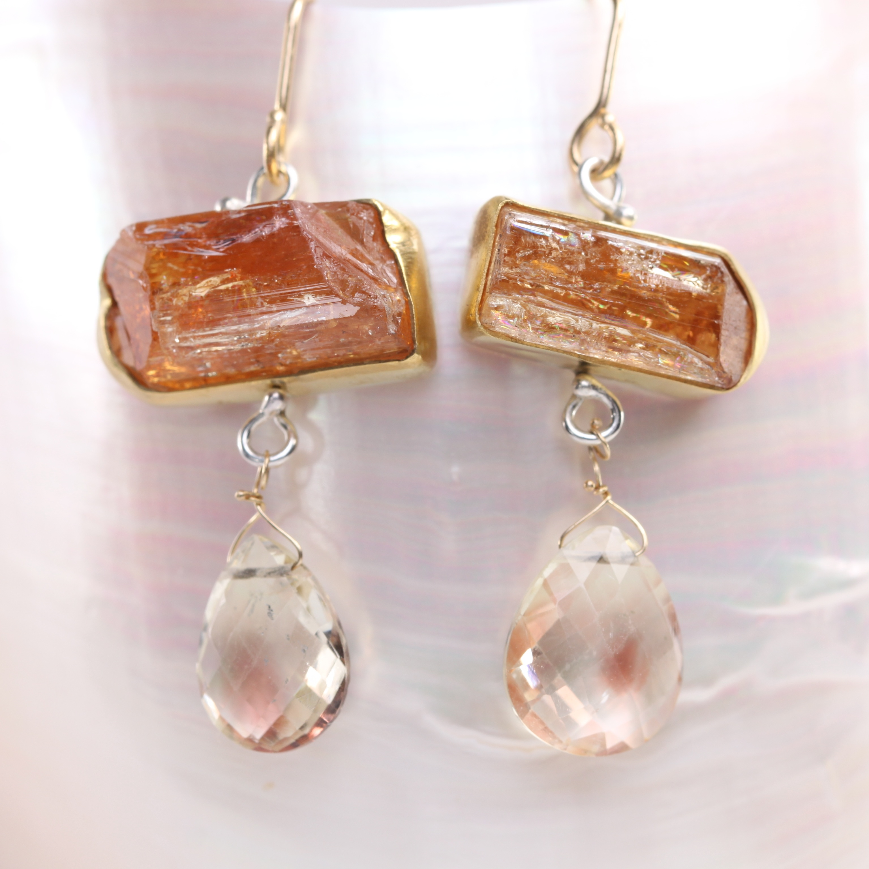 Imperial Topaz Crystal & Oregon Sunstone Briolette Earrings