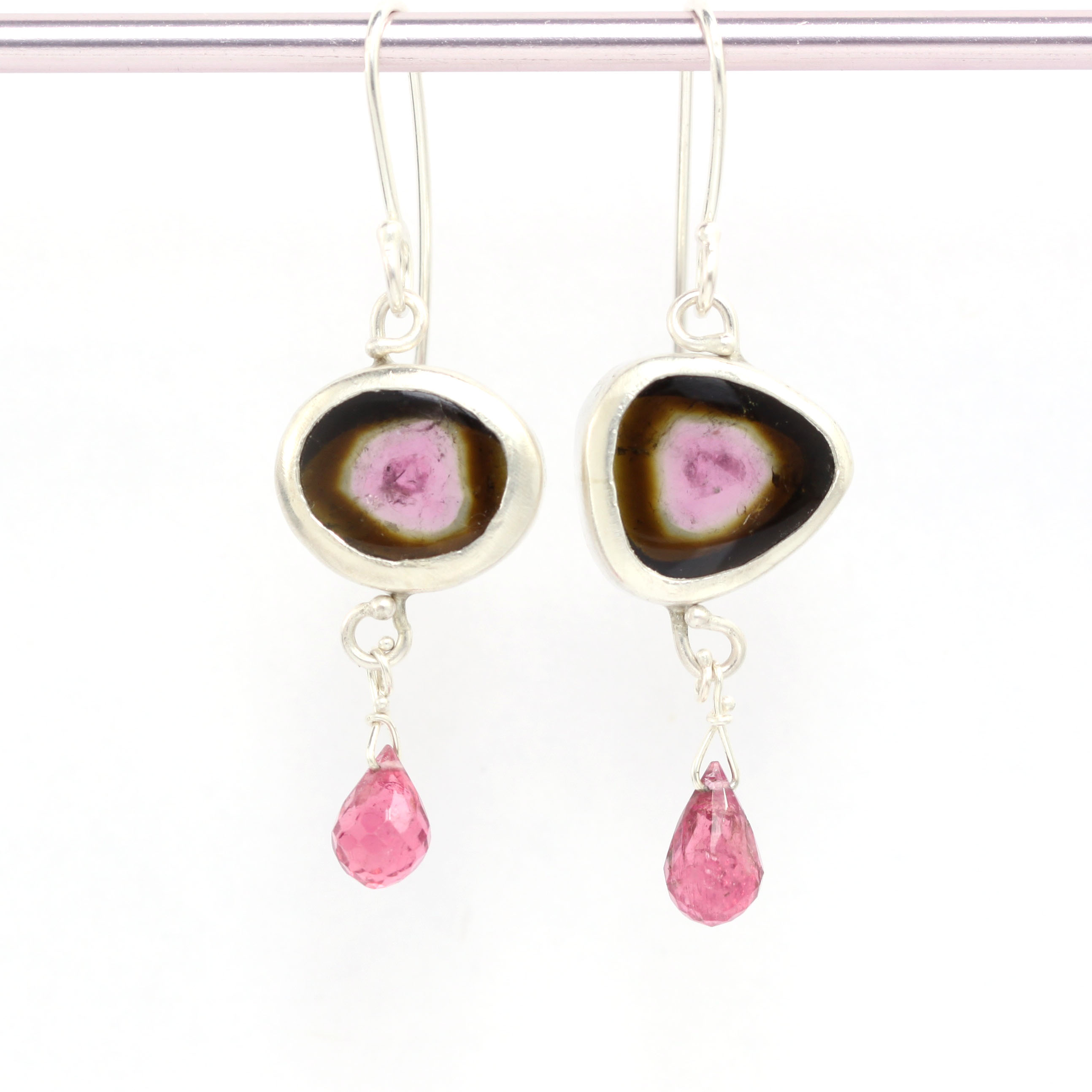 Watermelon Tourmaline Slice Earrings with Pink Tourmaline Briolettes