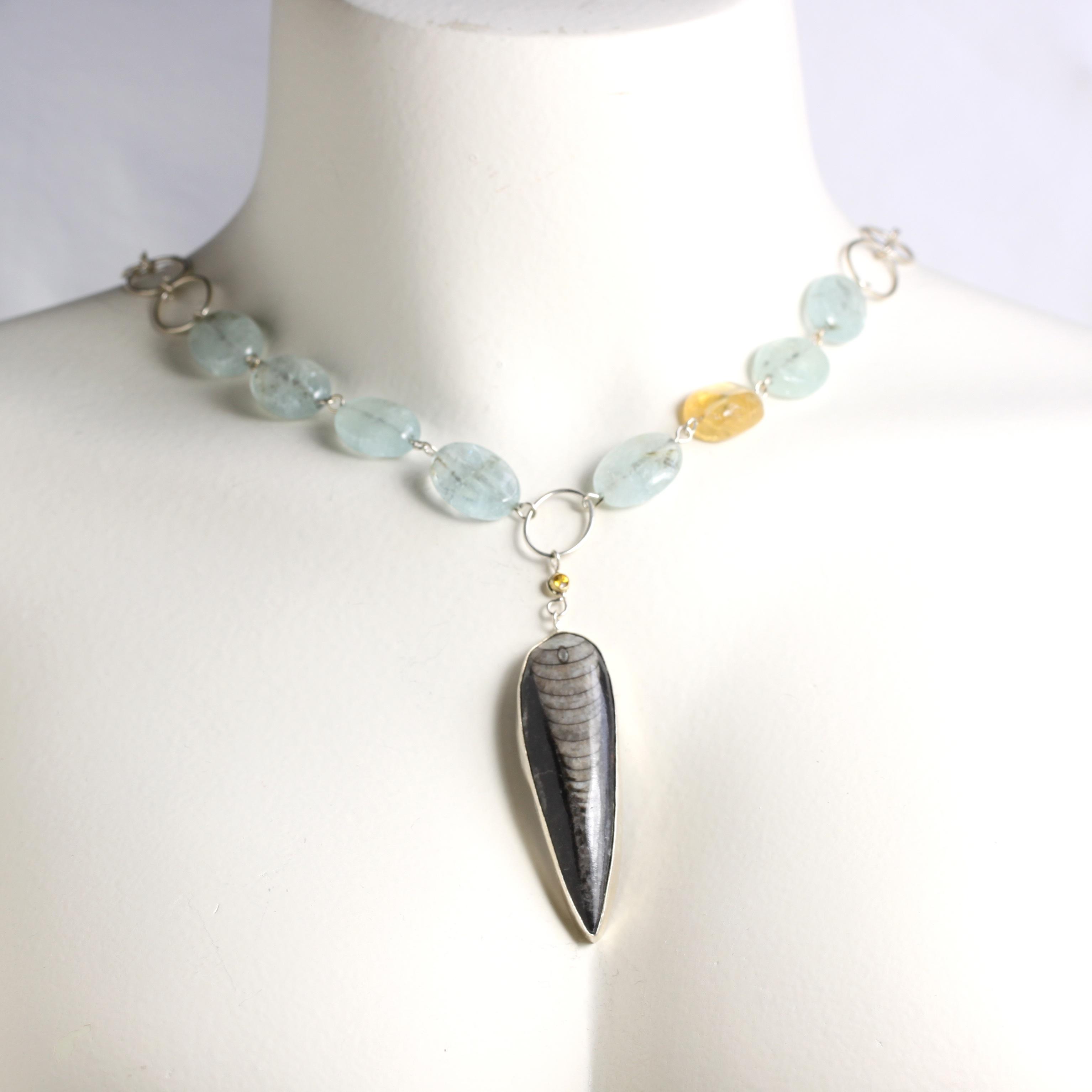 Wanga Necklace Pendant: Orthoceras Yellow Sapphire Aquamarines & Citrine