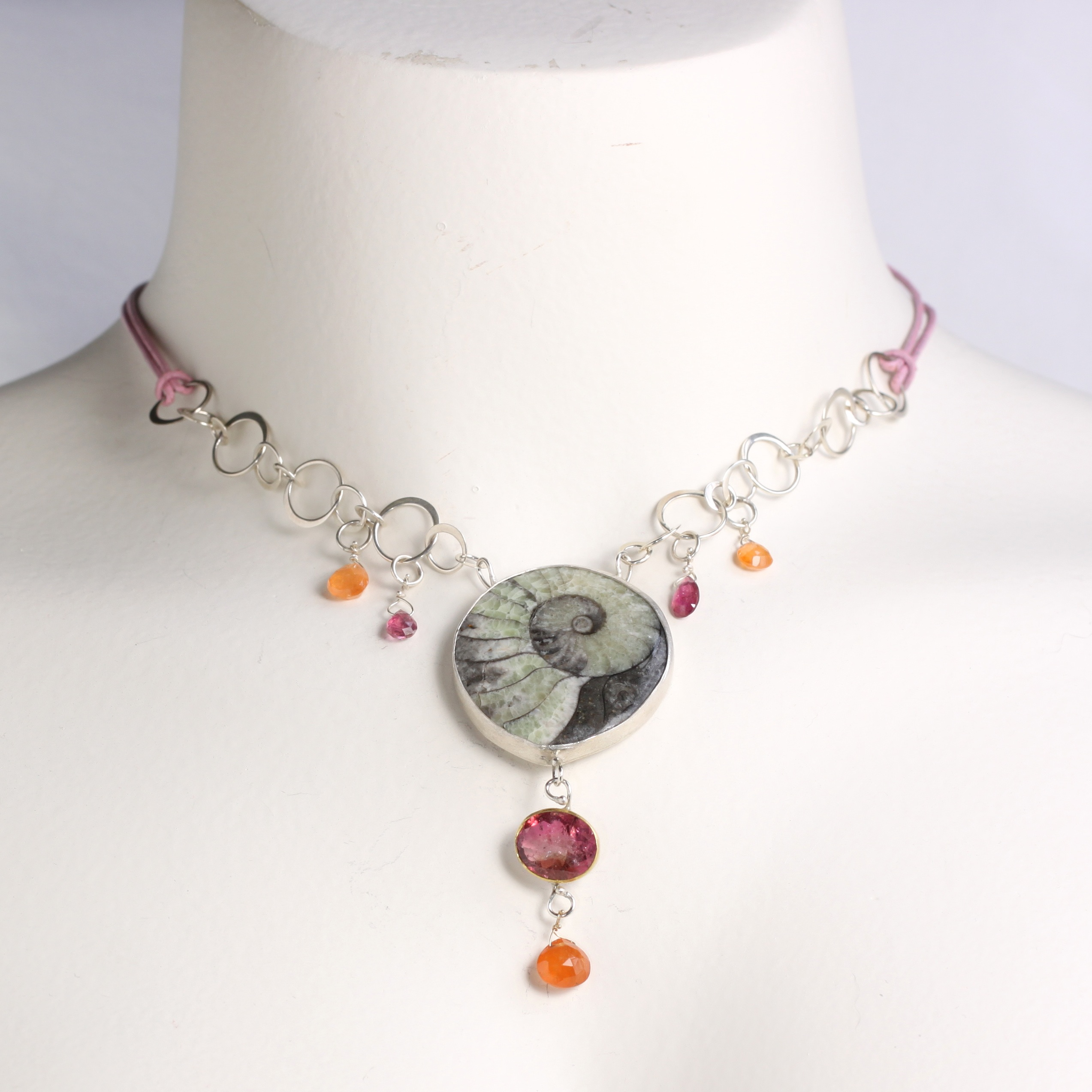 Wanga Necklace: Ammonite Rubelite with Pink Tourmaline & Spessartite (Orange Garnet) Briolettes