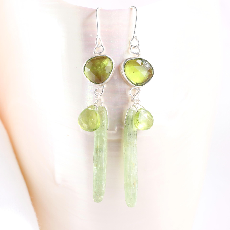 Rose Cut Peridot Earrings with Green Kyanite Drops