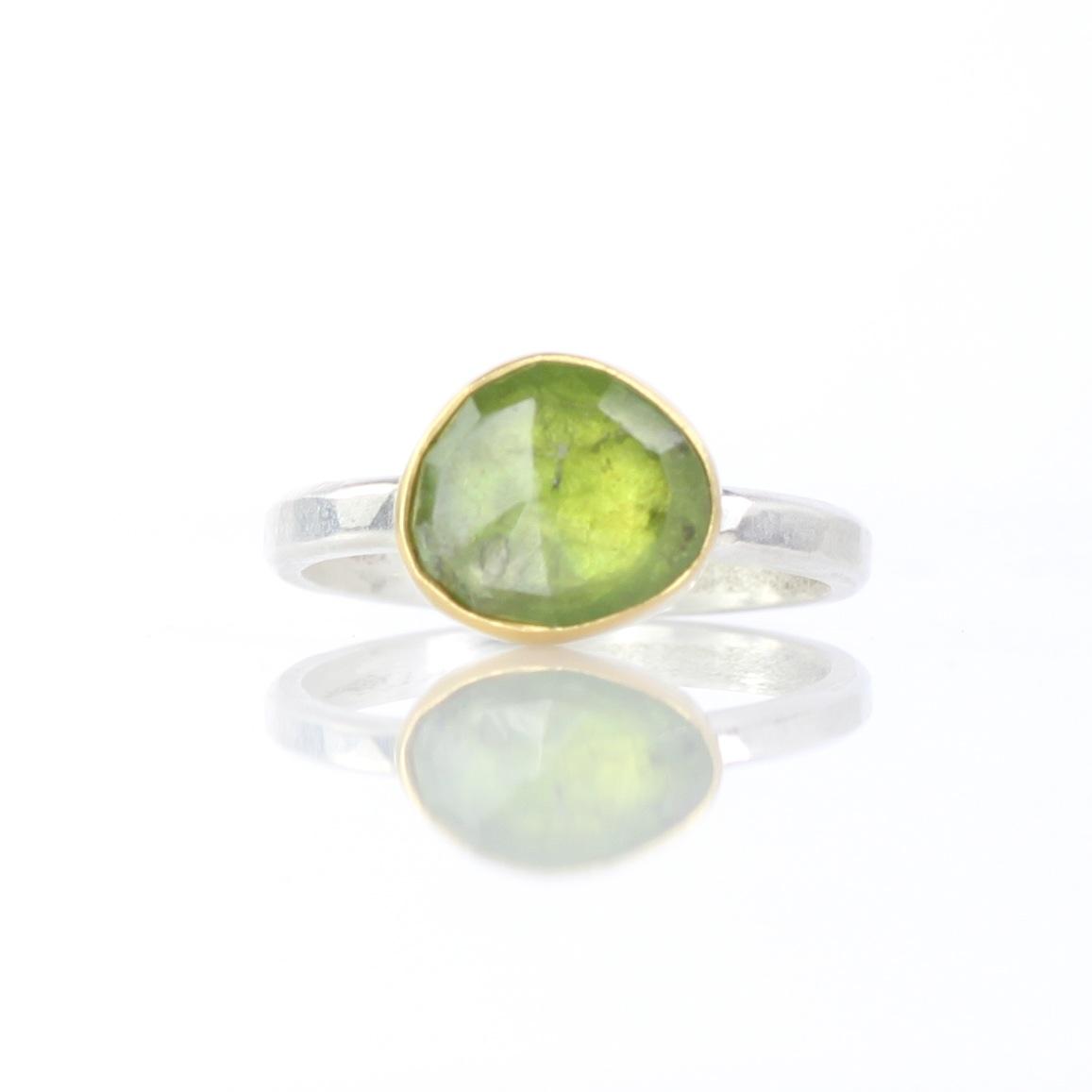 Rose Cut Green Garnet Ring
