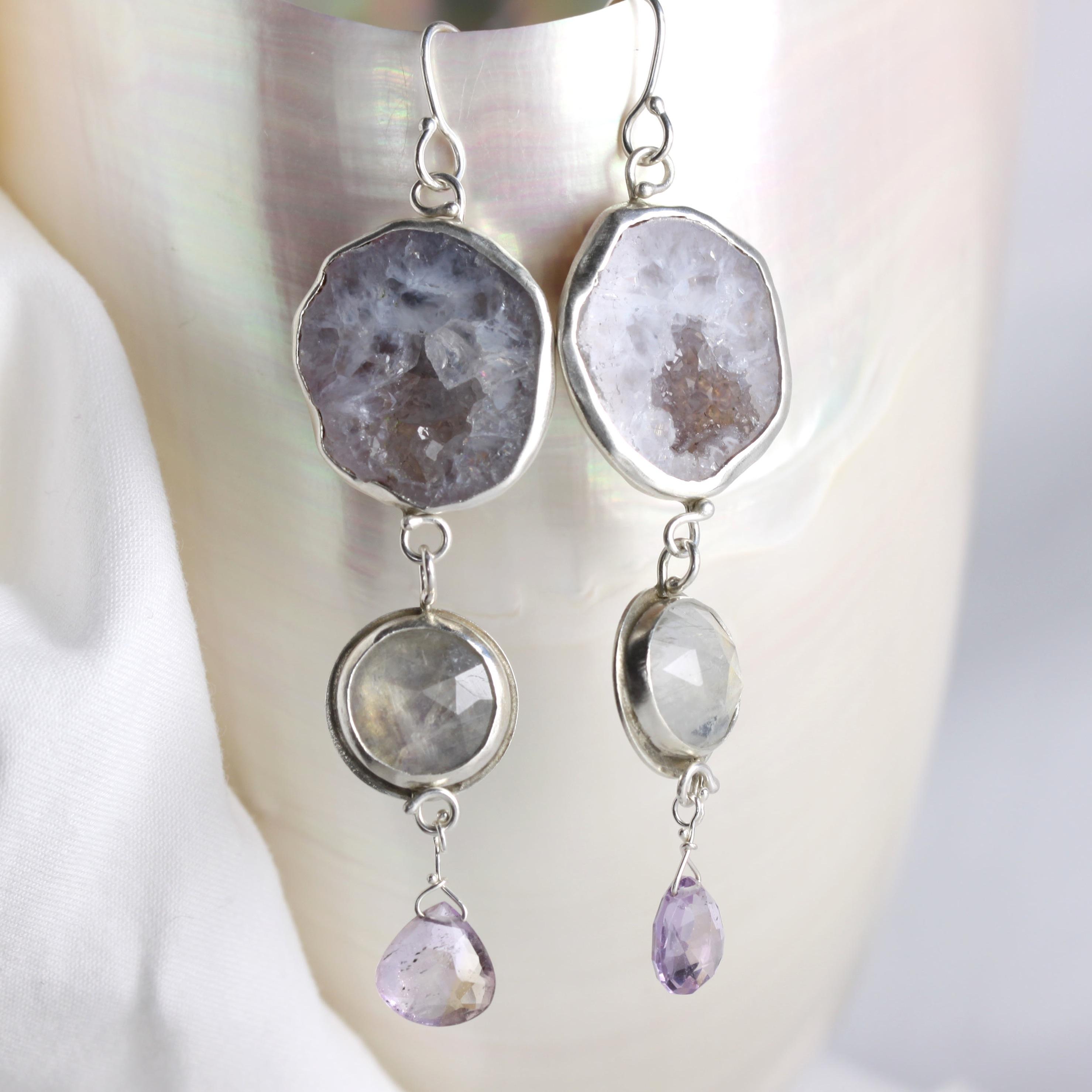 Baby Geode Earrings With Rose Cut Rainbow Moonstones & Ametrine Briolettes