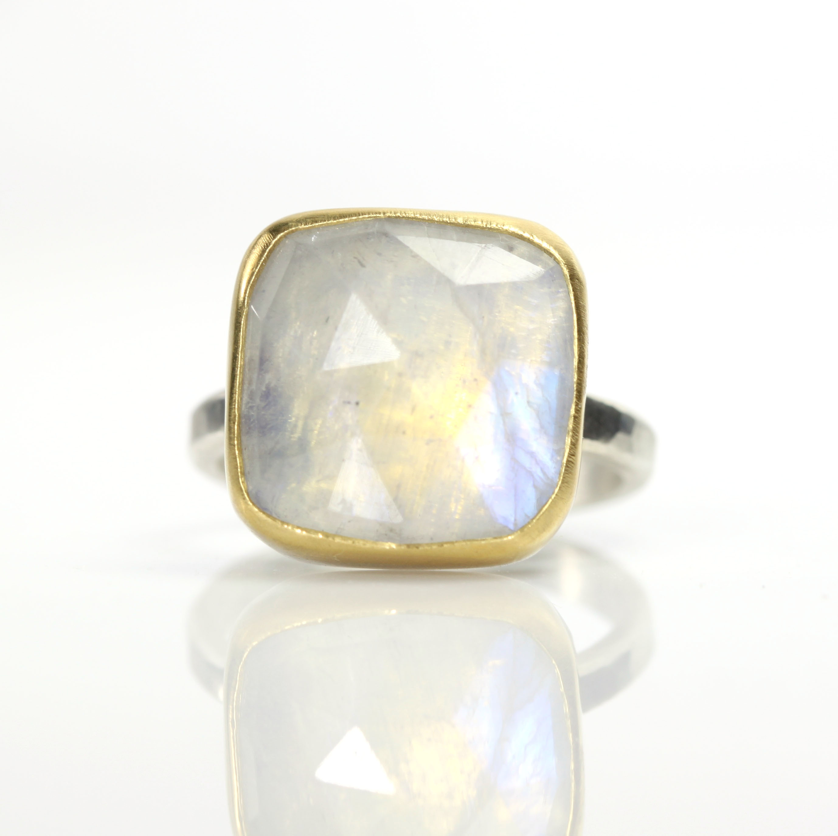 Square Rose Cut Rainbow Moonstone Ring