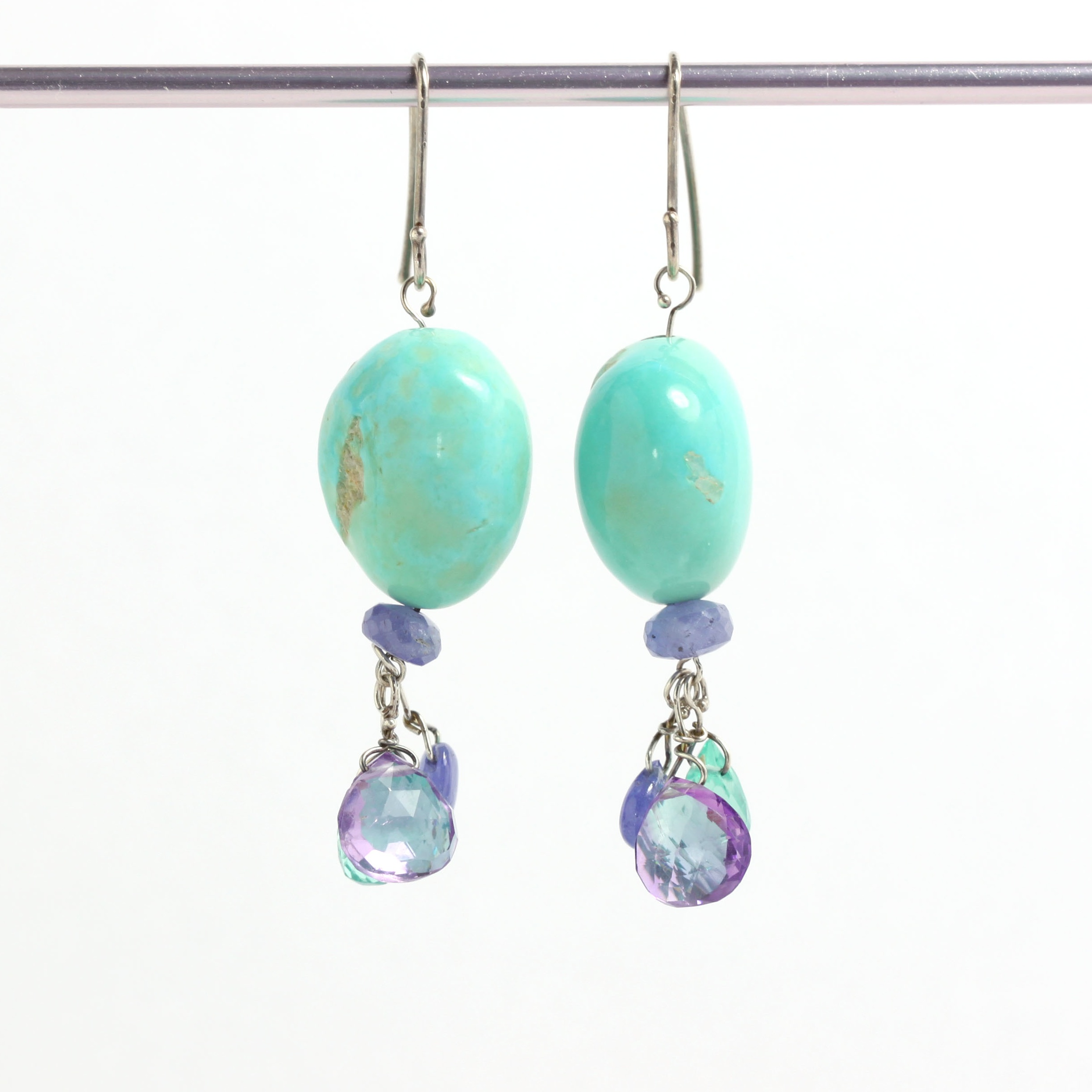 """Natural Turquoise """"Nugget"""" Earrings With Tanzanite, Amethyst & Apatite Briolette Drops"""