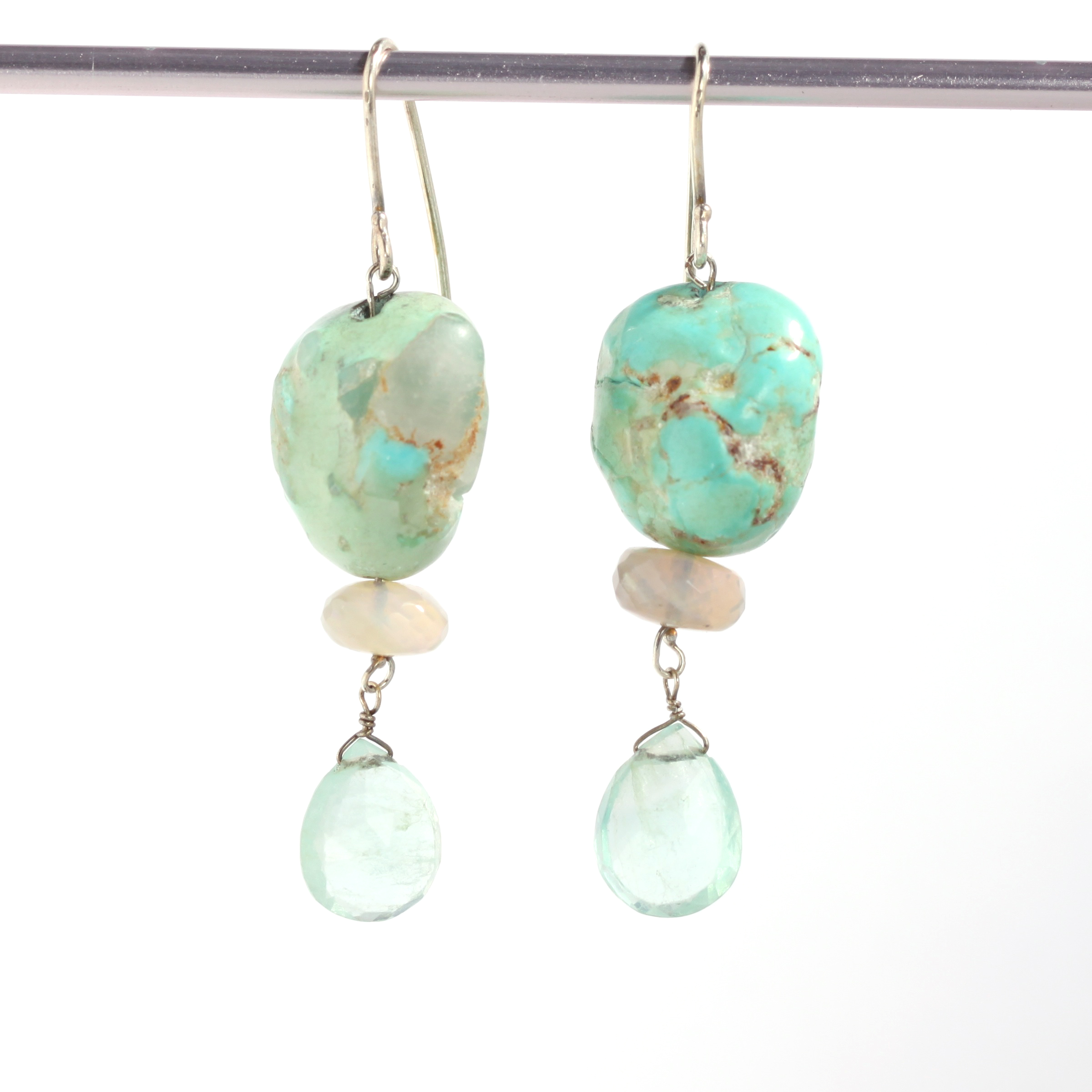 Natural Turquoise Nugget Earrings With Australian Opals & Blue/Green Fluorite Briolettes