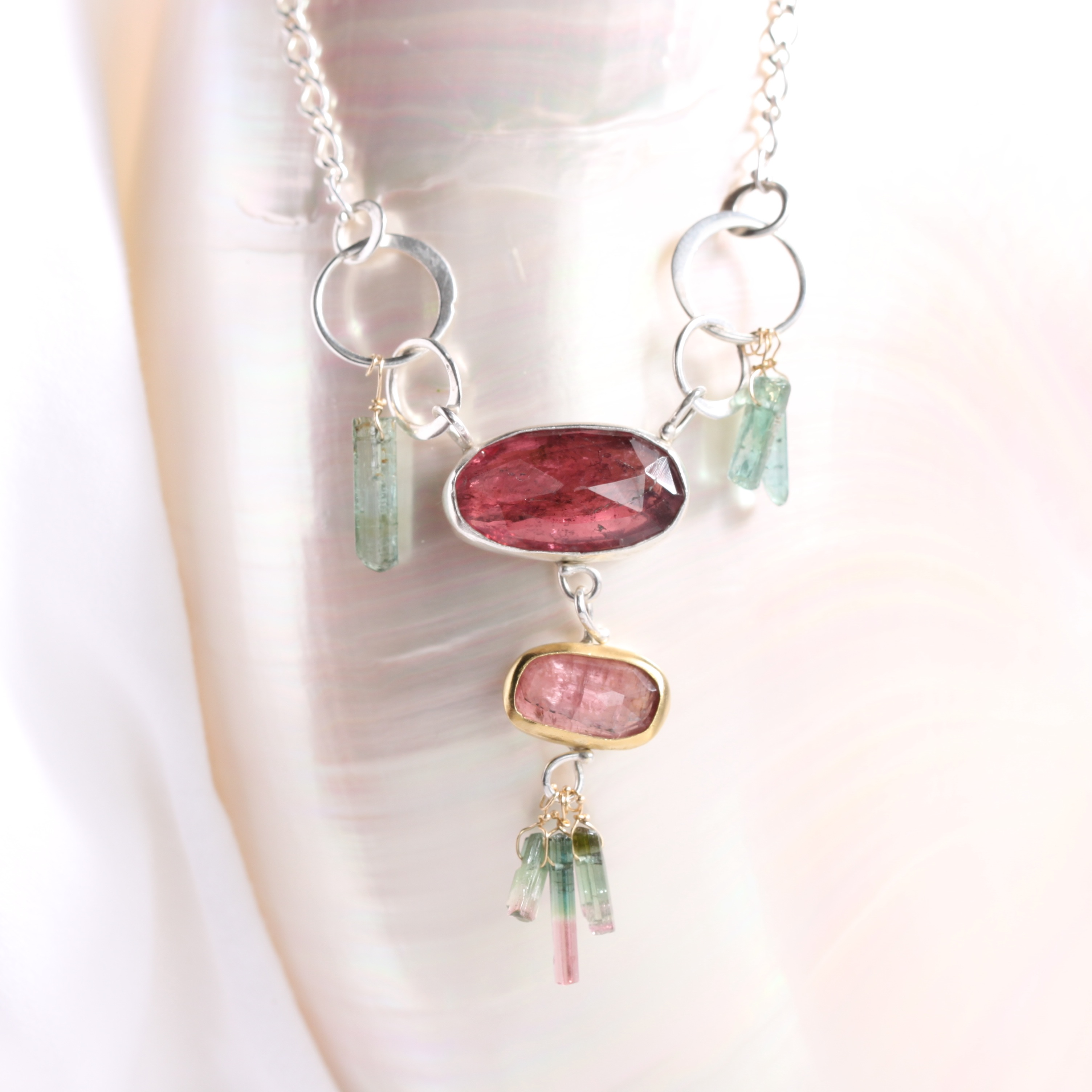 Rose Cut Pink Tourmaline Necklace Pendant with Tourmaline Crystal Fringe