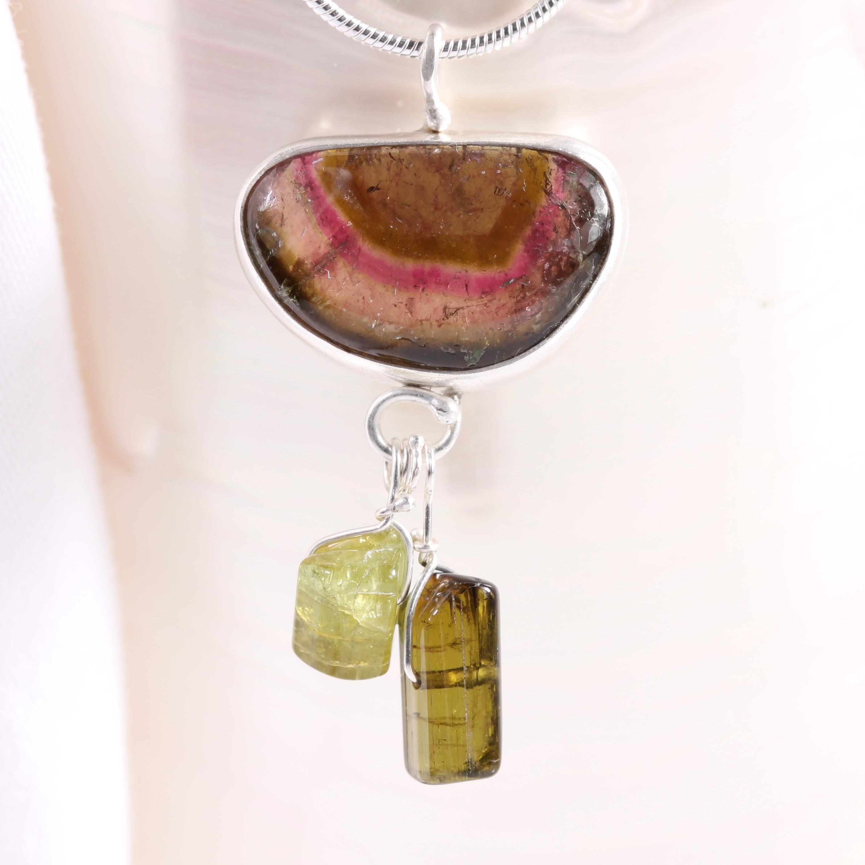 Watermelon Tourmaline Pendant with Green Tourmaline Crystals
