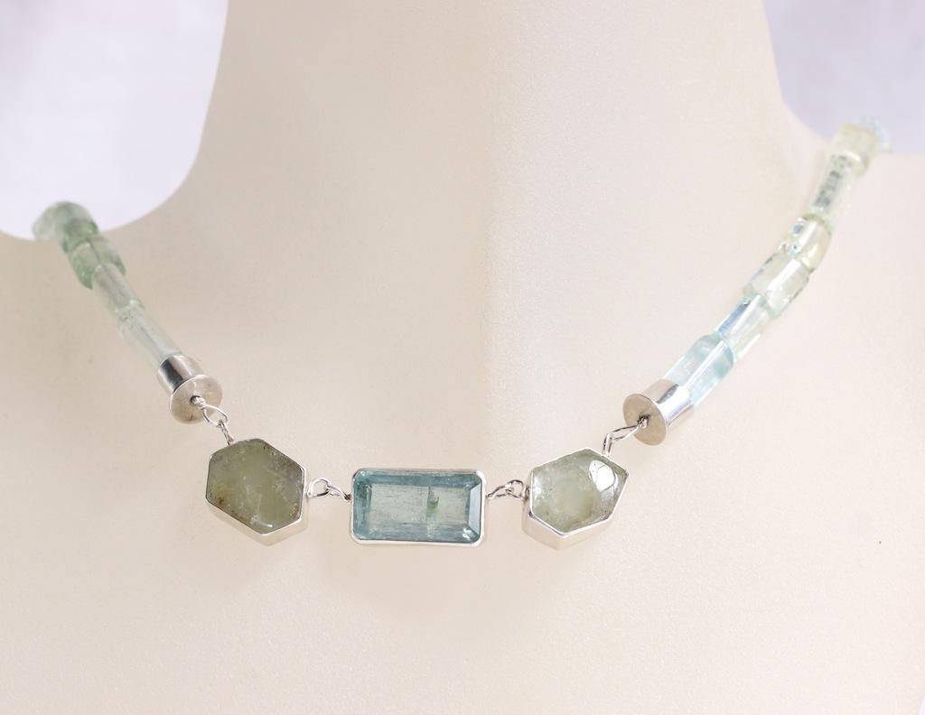 Green Beryl Slice Statement Necklace With Emerald Cut Aquamarine