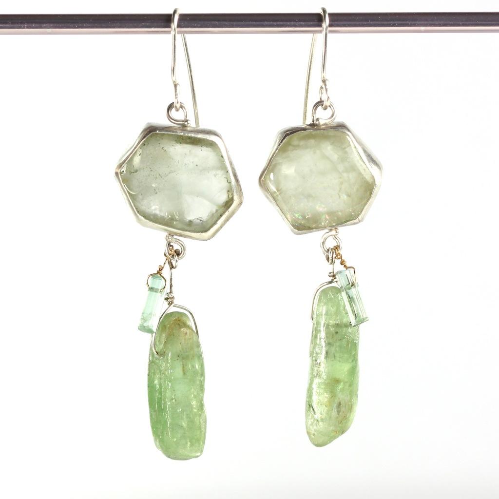 Green Beryl Slice Earrings With Green Kyanite & Tourmaline Crystal Drops