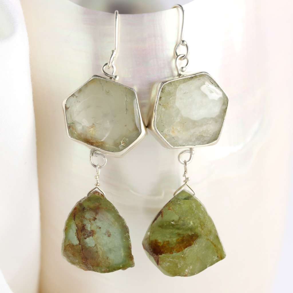 Green Beryl Slice Earrings With Raw Green Tourmaline Slice Drops