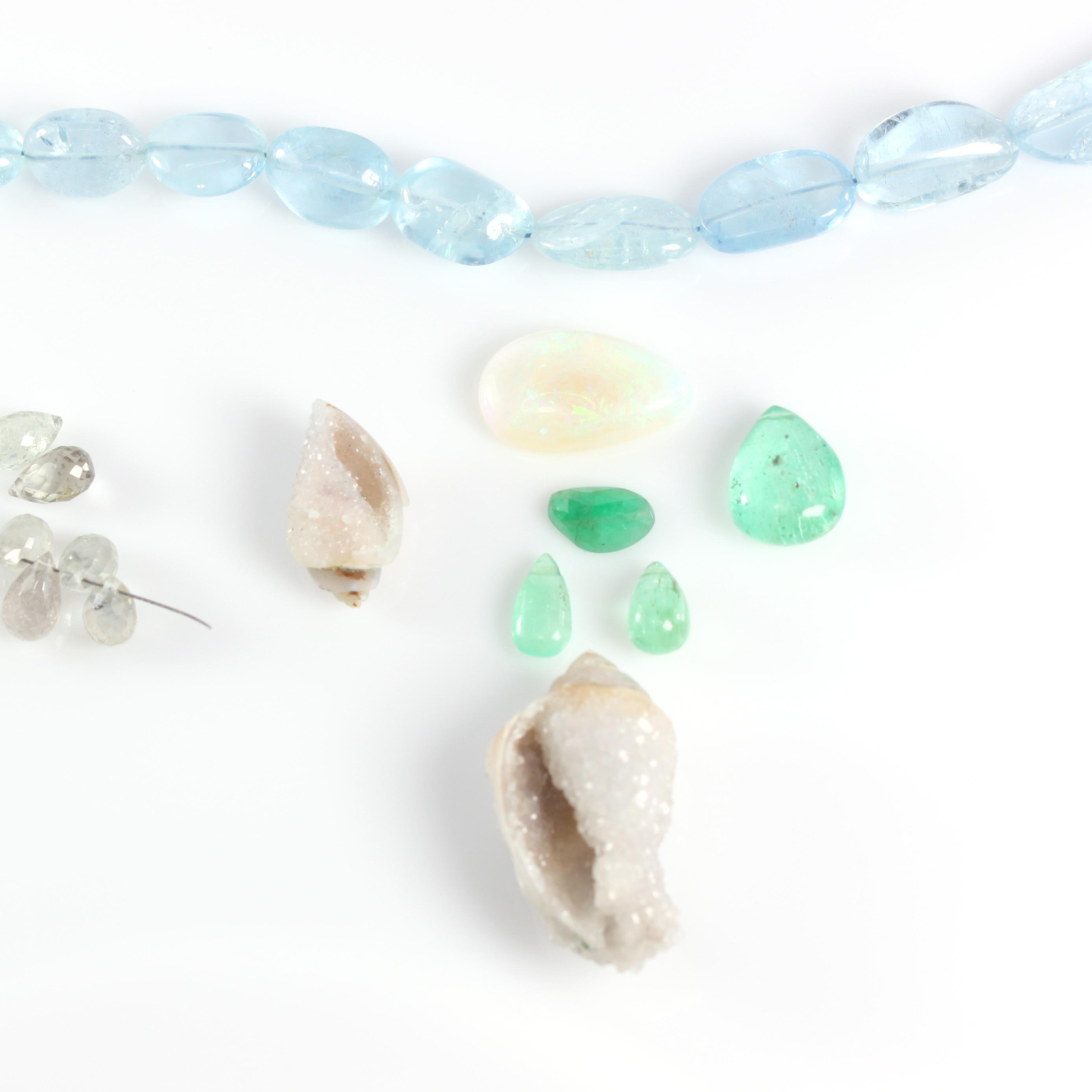 Components For Custom Necklace - Opal, Aquamarine,  Emerald, White Sapphires & Druzy Fossil Seashells