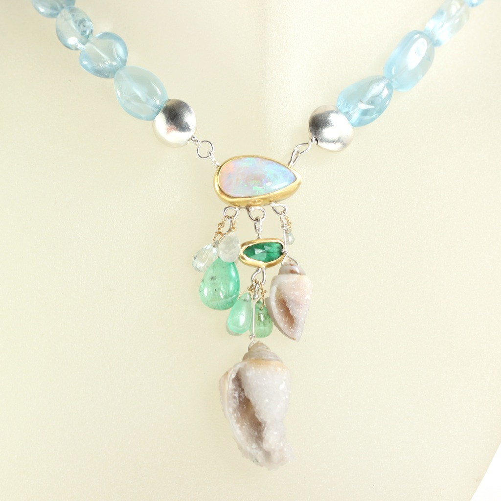 Opal Emerald Aquamarine Necklace With Druzy Fossil Shell Drops