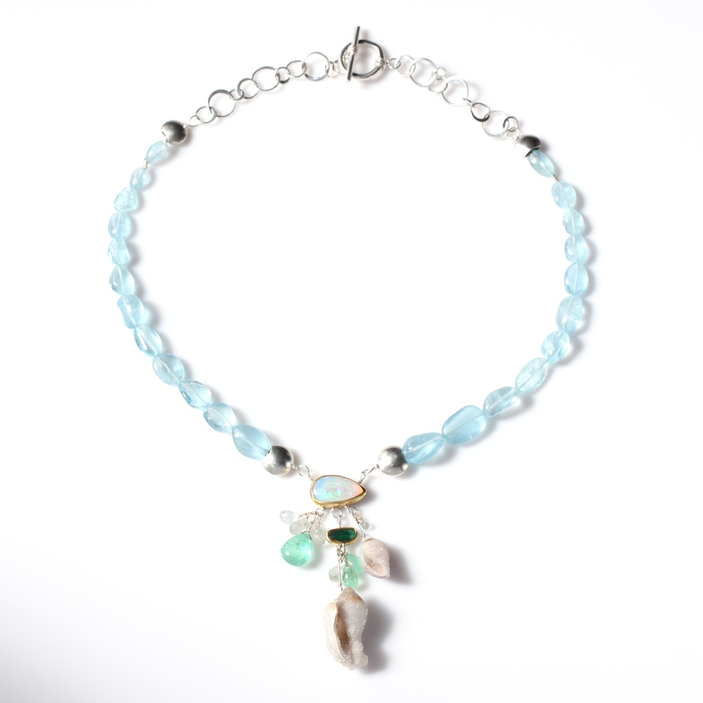 Full View of Opal Aquamarine Emerald Necklace With Druzy Fossil Seashell Drops