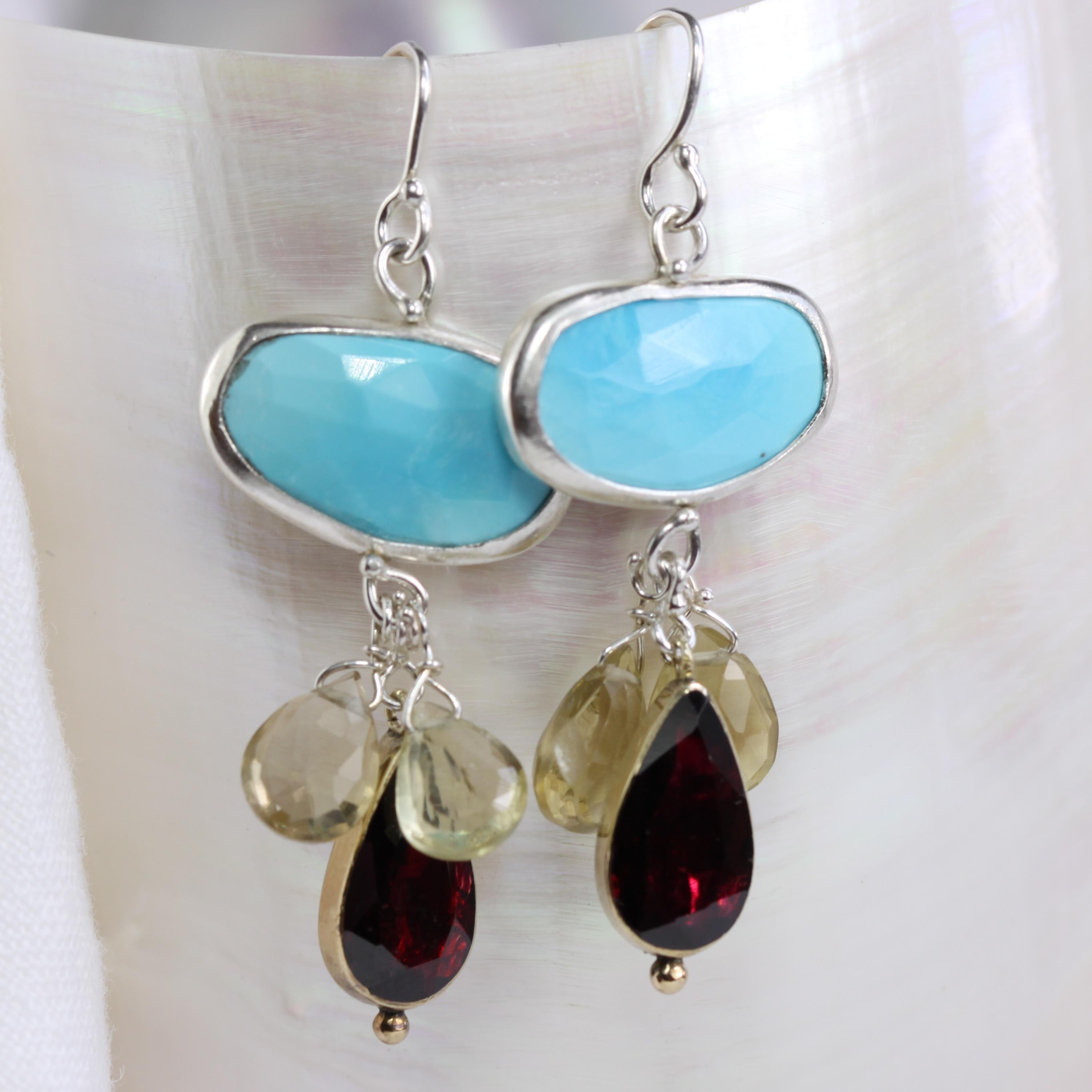 Reworked Garnet Earrings With Turquoise & Lemon Quartz