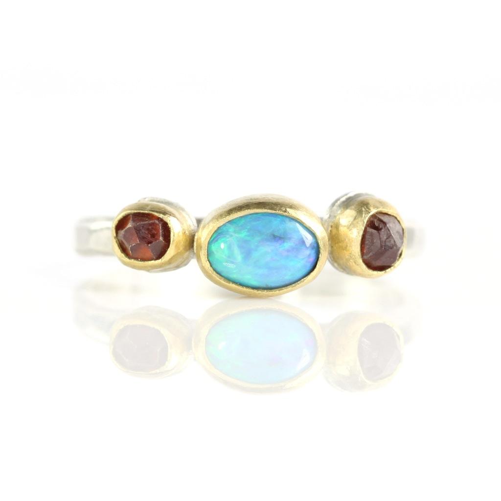 Lightning Ridge Opal & Raw Spessartite Garnet Crystal Ring