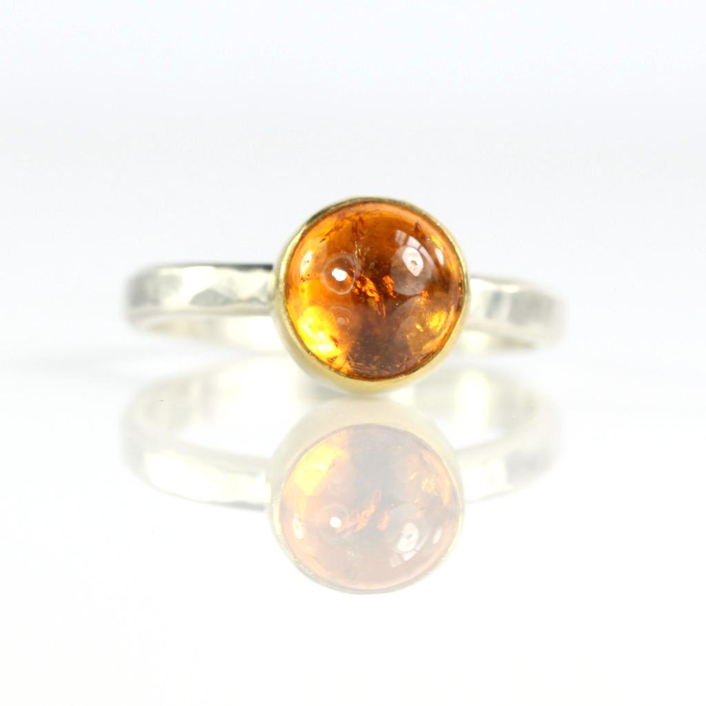 Spessartite Garnet Cabochon Ring