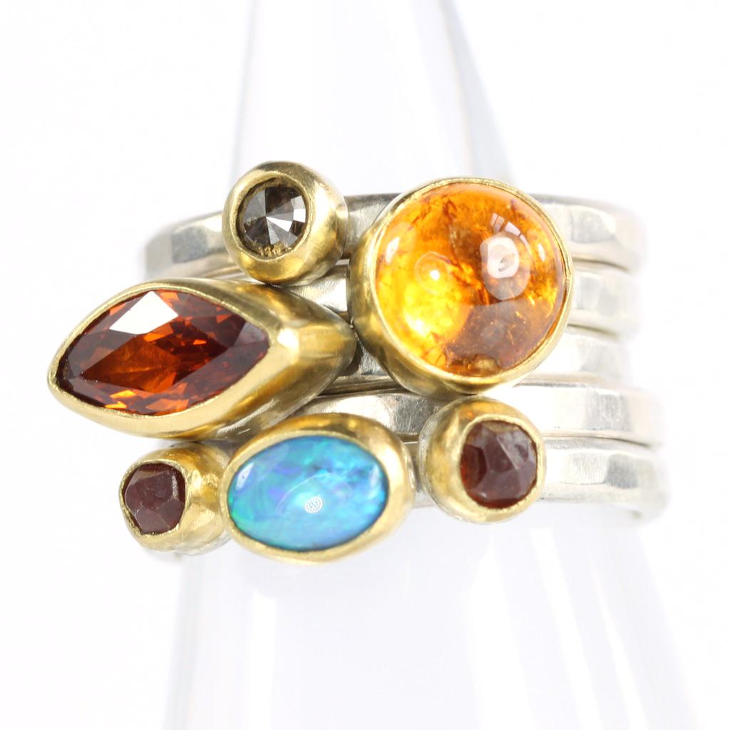 Spessartite Garnet Opal & Diamond Stack