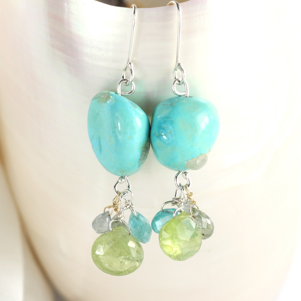 Natural Turquoise Nugget Earrings With Green Garnet, Apatite & Sapphire Briolettes