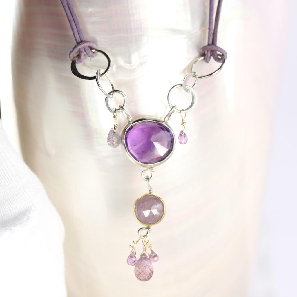 Rose Cut Amethyst & Purple Sapphire Necklace Pendant With Sapphire Briolettes