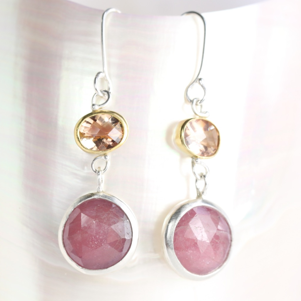 Checkerboard Cut Oregon Sunstone Earrings With Pink Rose Cut Sapphires